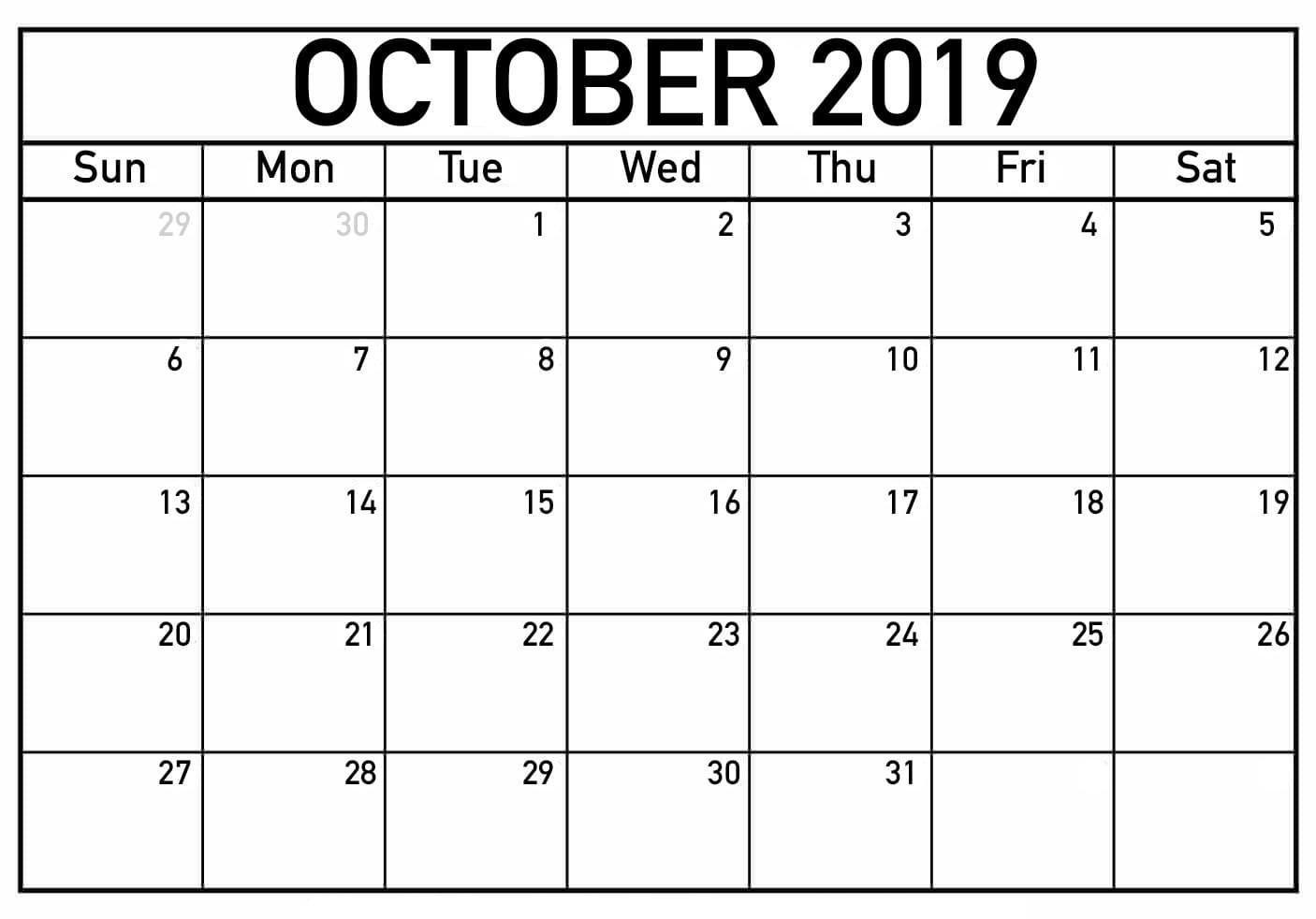 Free Printable October 2019 Calendar Planner Templates - Latest within Full Moon Calendar 2019 Printable October