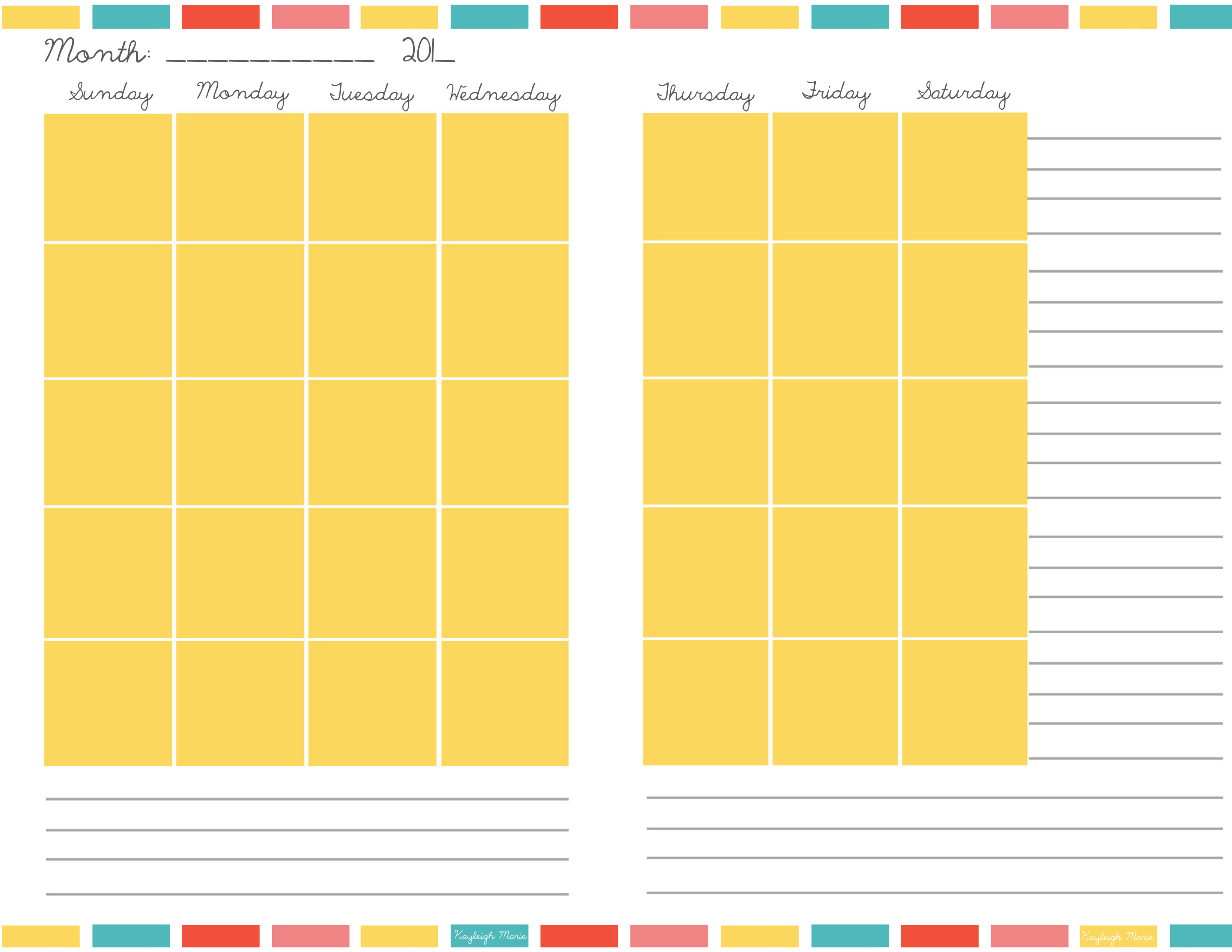 Free Printable Planners | Kayleigh Marie Textiles with Blank Monthly Planner Free Printable