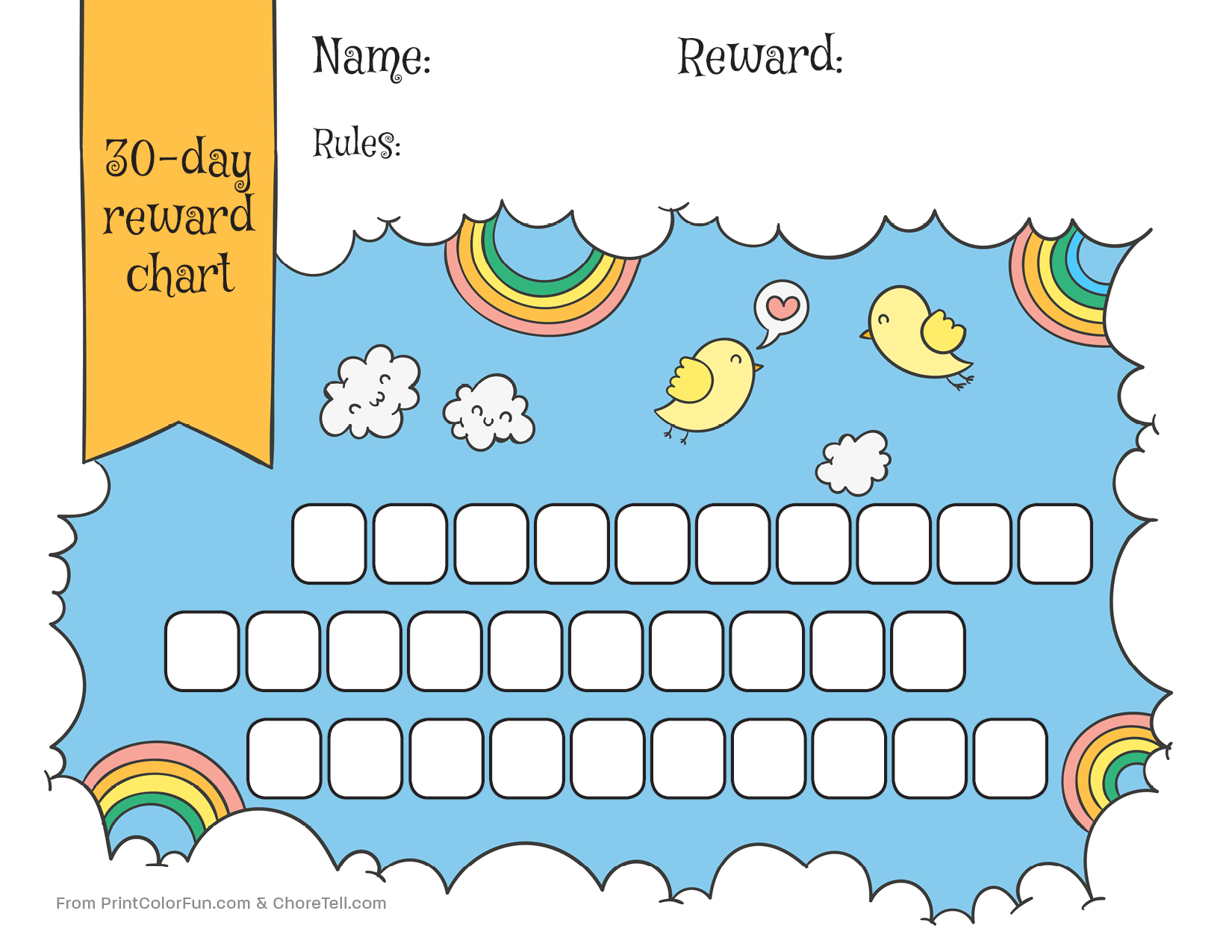 Free Printable Reward Charts For Toddlers - Infer.ifreezer.co pertaining to Behavior Charts For Kids Templates