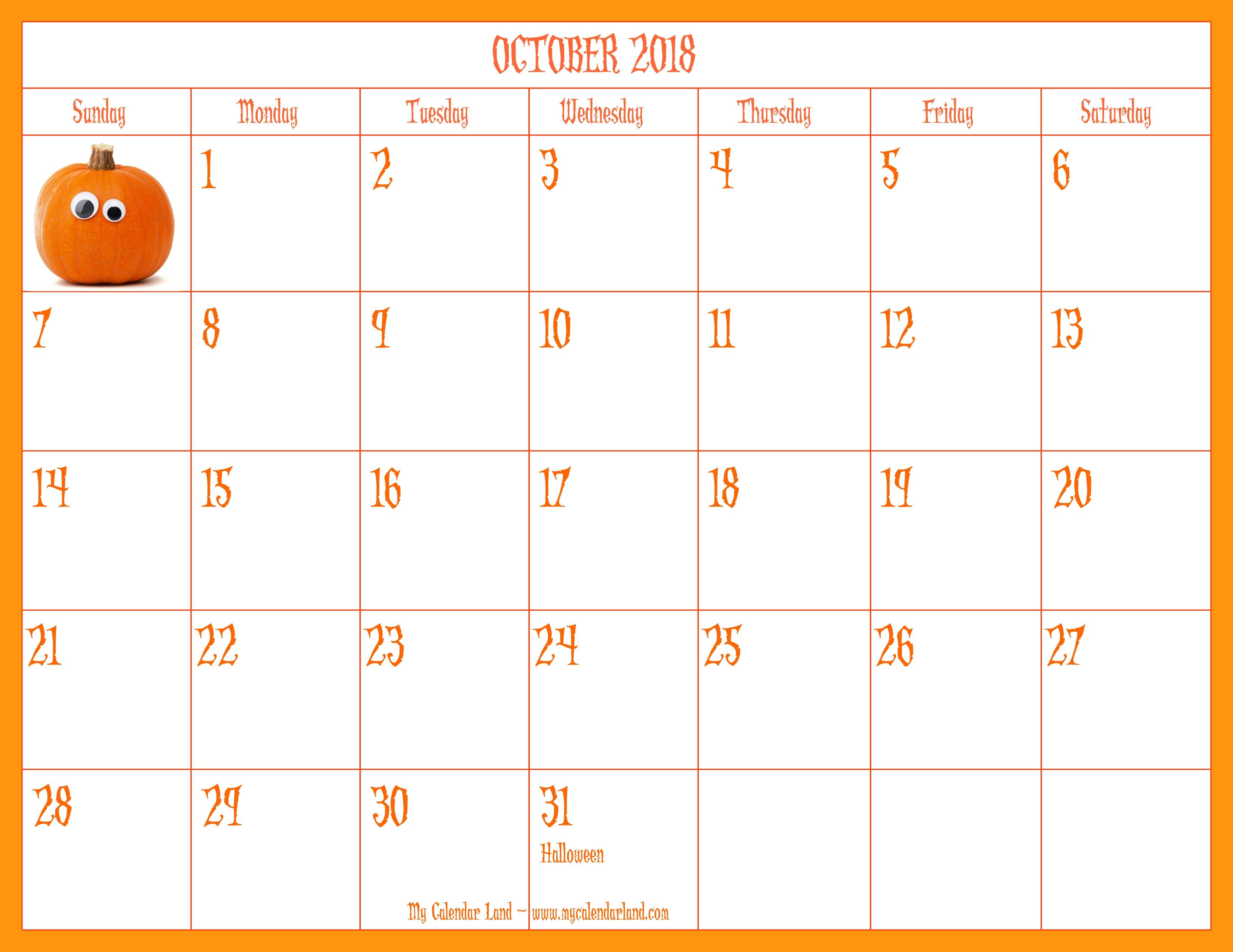 Free Printable Scary October Calendar 2019 | Calendar Format Example for Free Printable Scary October Calendar 2019