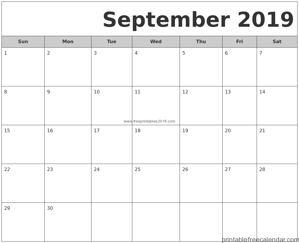 Free Printable September 2019 Calendar Templates   Free Printables 2019 for September Calendar Printable Template