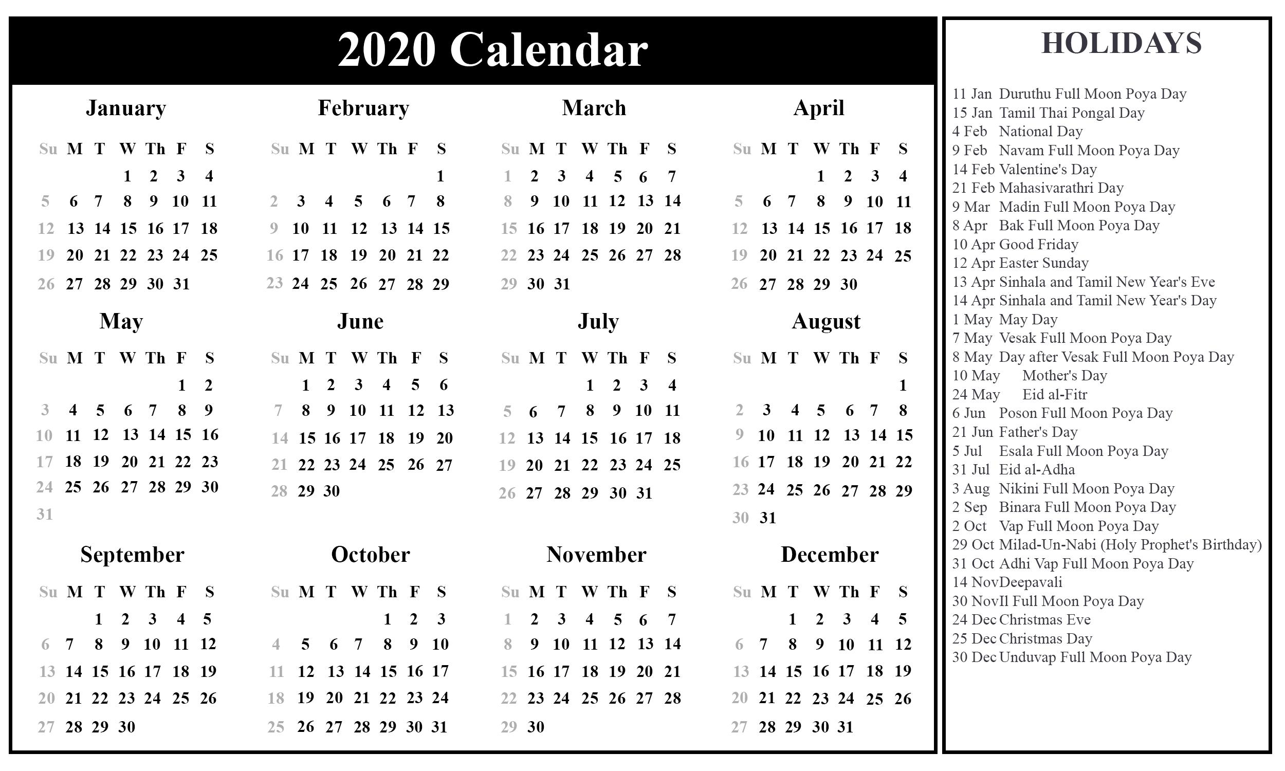Free Printable Sri Lanka Calendar 2020 With Holidays In Pdf within National Day Calendar 2020 Printable