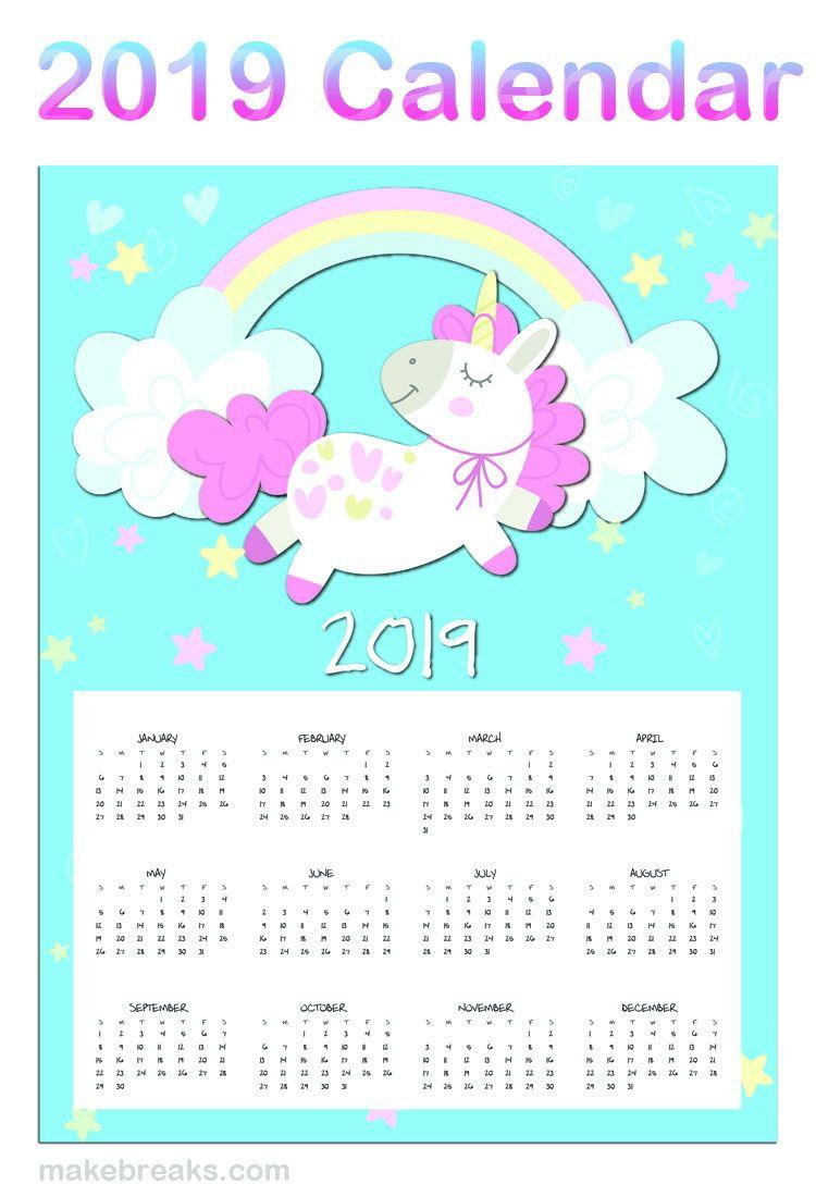 Free Printable Unicorn One Page 2019 Calendar | 2019 Planner for Free Printable Unicorn Calendar 2019-2020