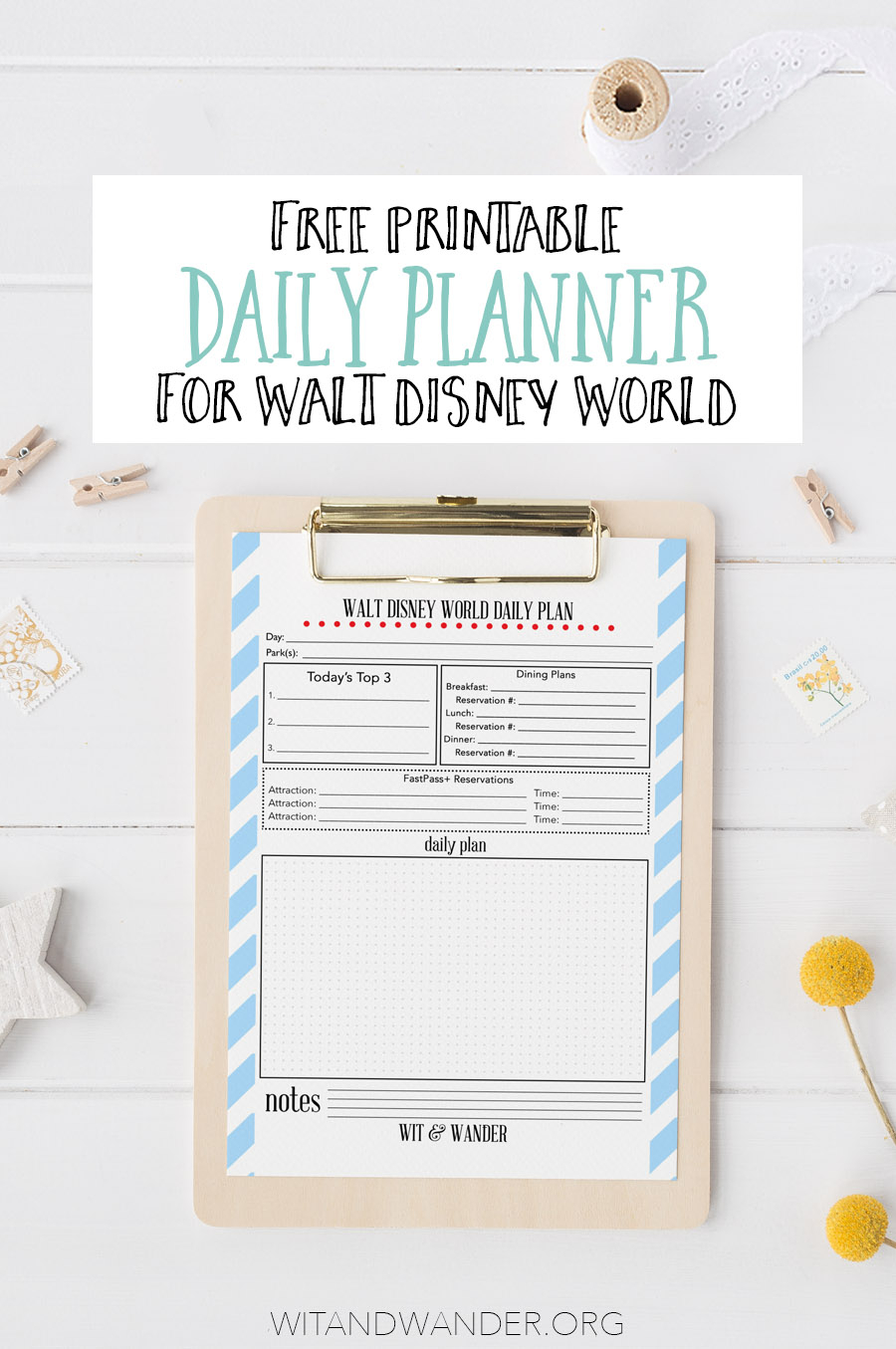 Free Printable Walt Disney World Daily Planner - Our Handcrafted Life in Disney World Itinerary Template Blank