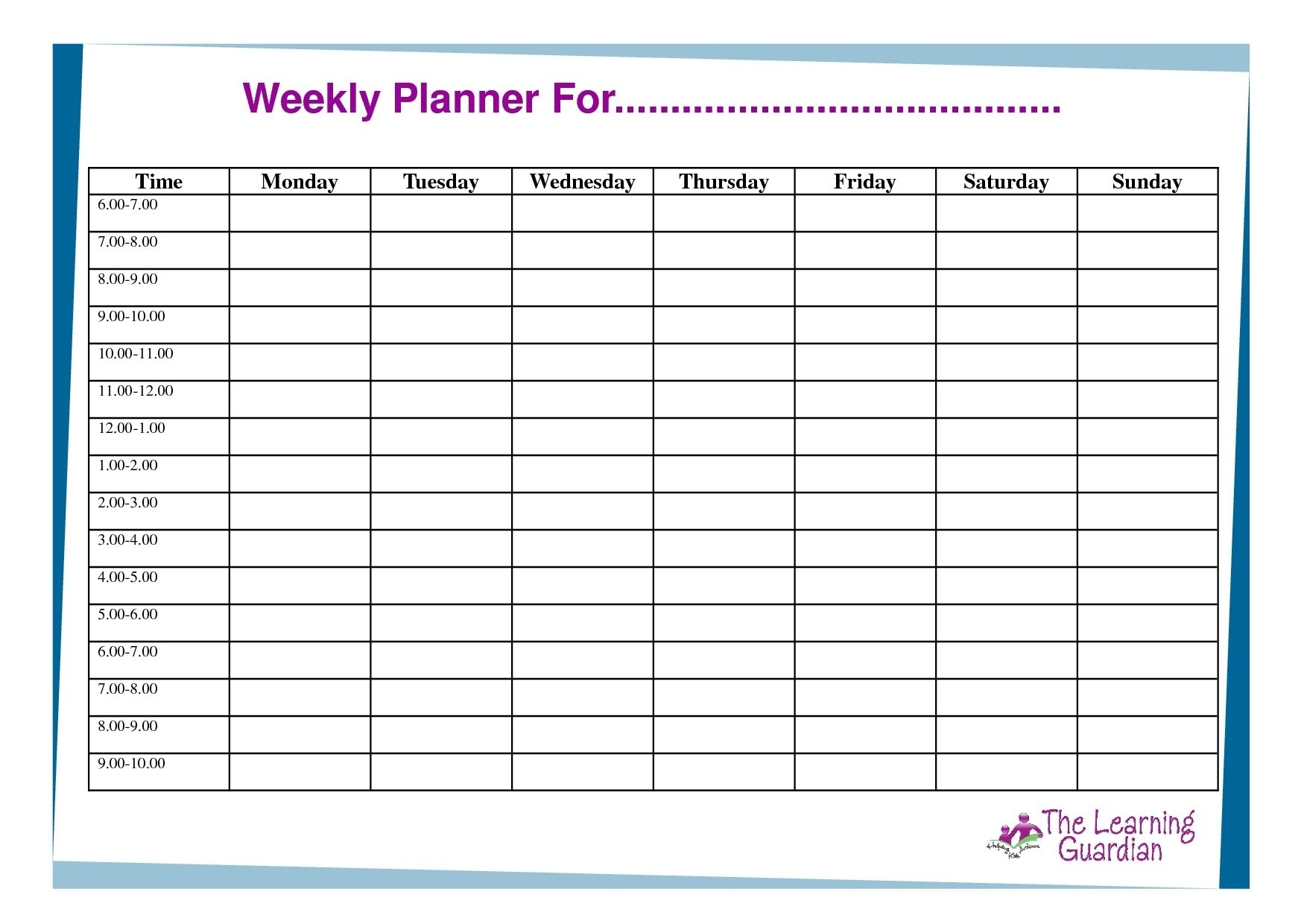 Free Printable Weekly Calendar Templates Planner For Time Incredible pertaining to 7 Day 12 Week Planner Blank