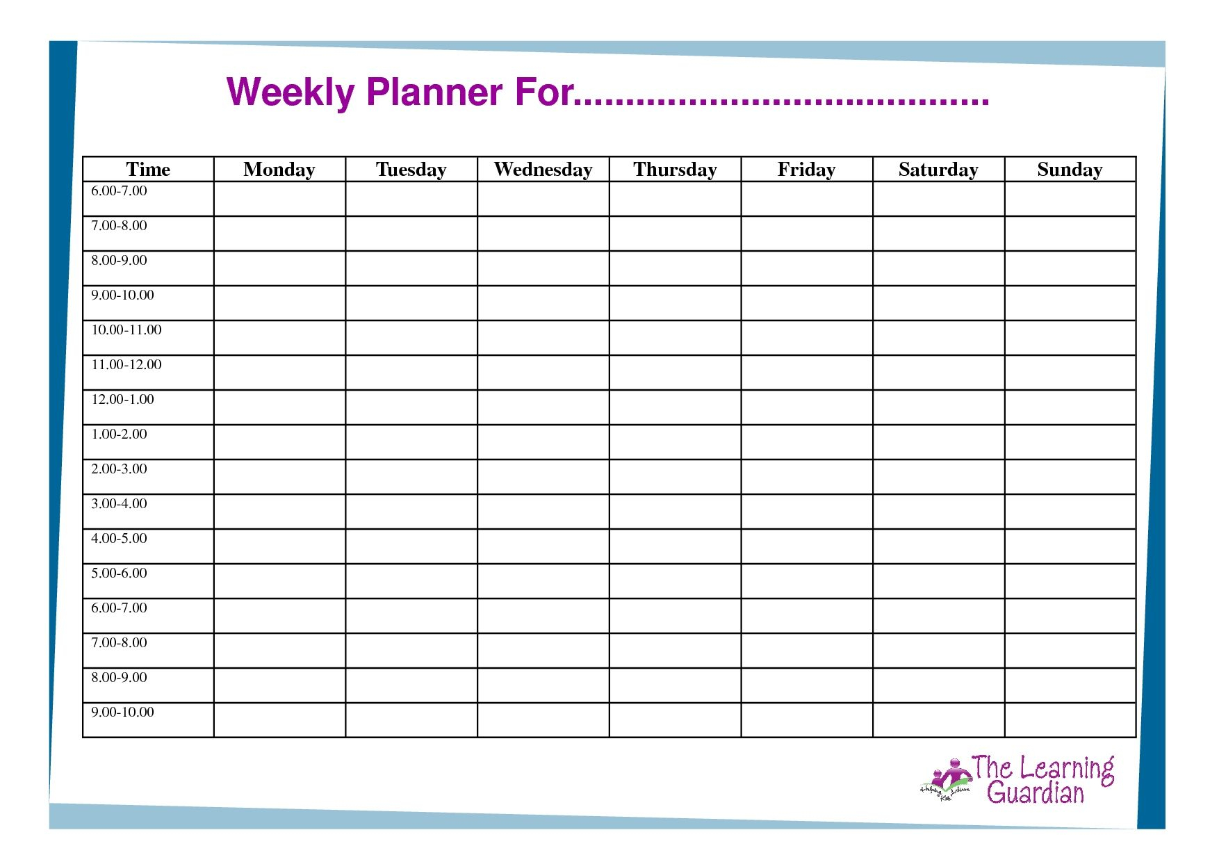 Free Printable Weekly Calendar Templates Weekly Planner For Time with regard to 7 Day Weekly Planner Template Printable
