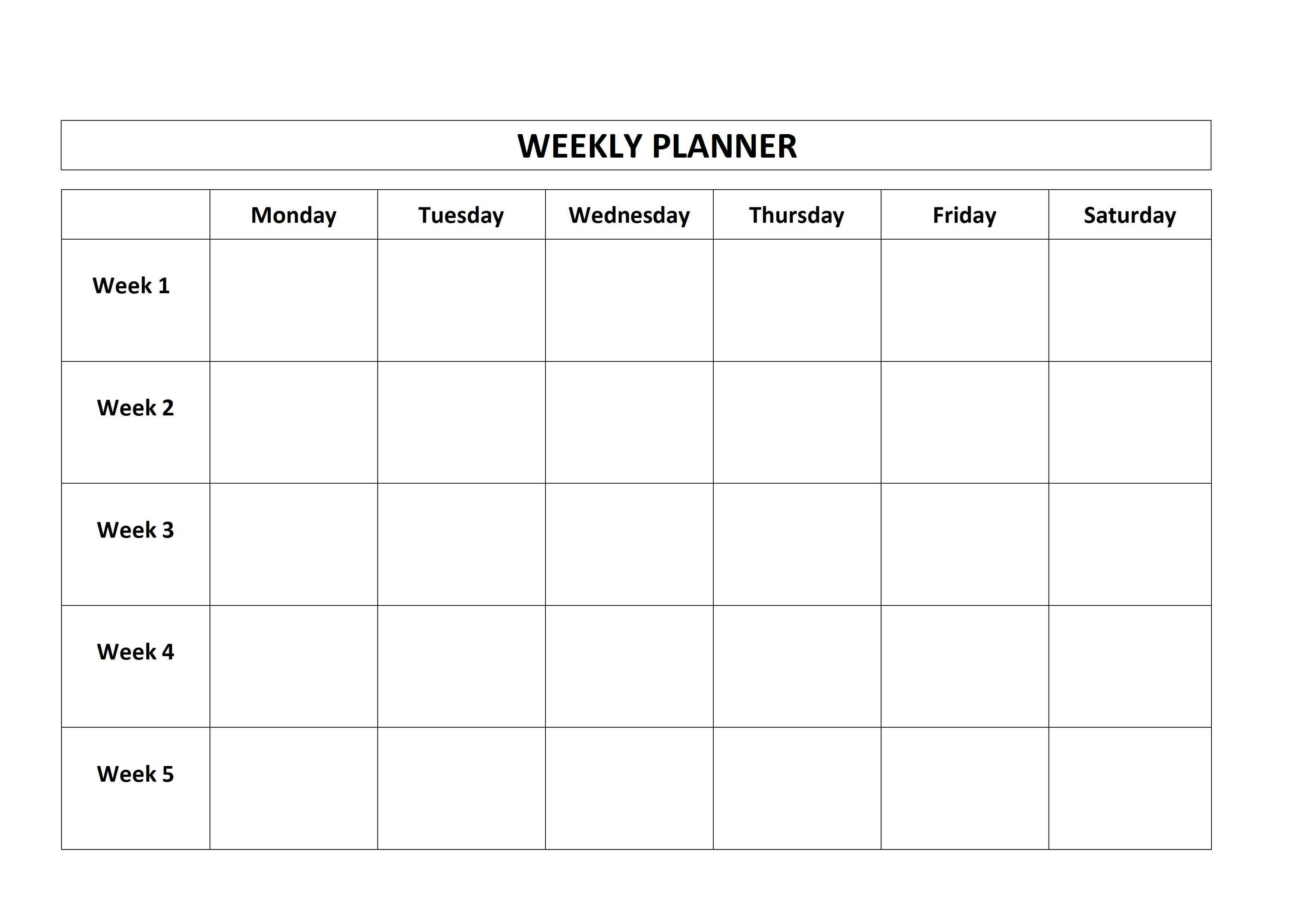 Free Printable Weekly Planner Monday Friday School Calendar On inside Monday Through Friday Planner Template