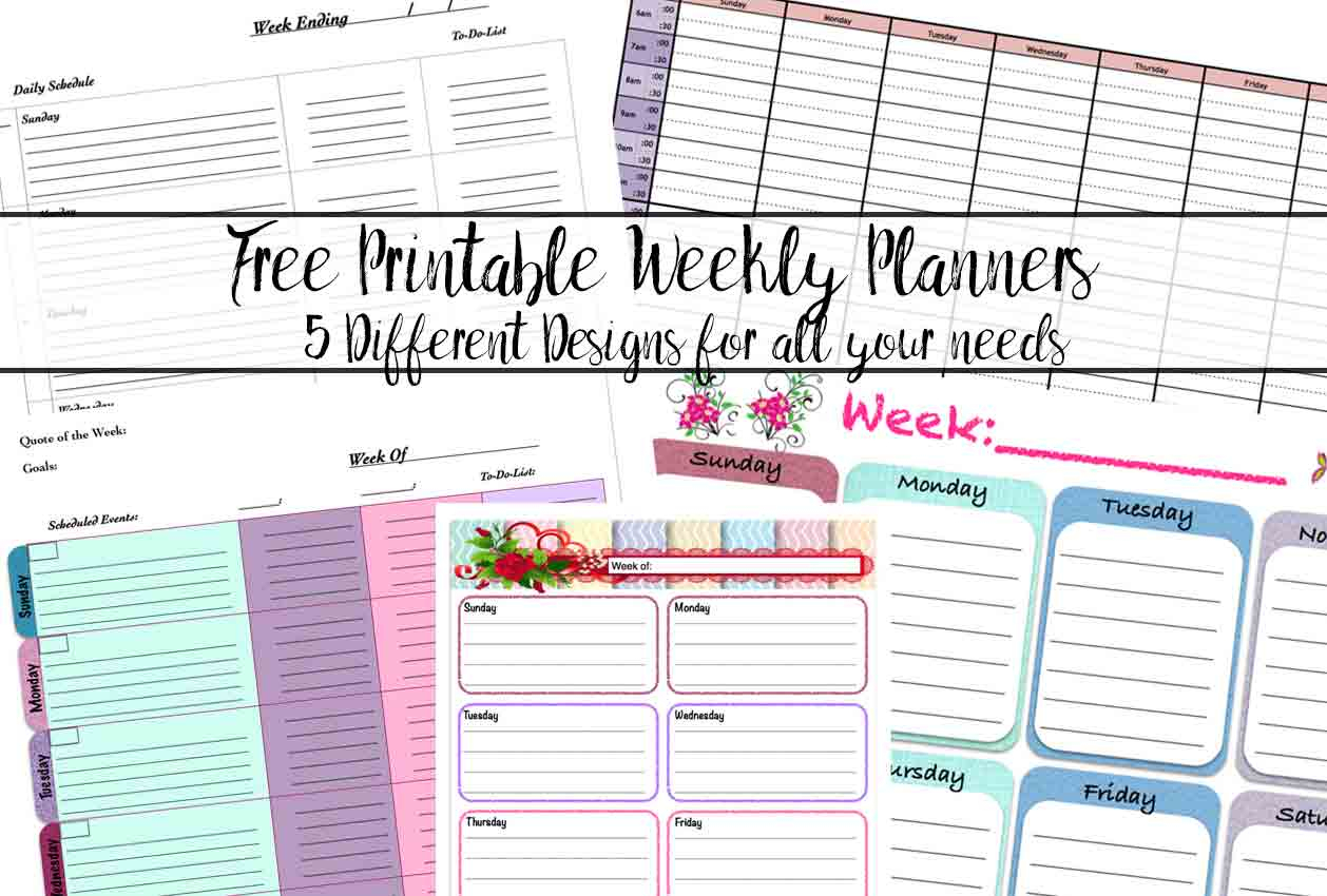 Free Printable Weekly Planners: 5 Designs with Horizontal Weekly Calendar Template
