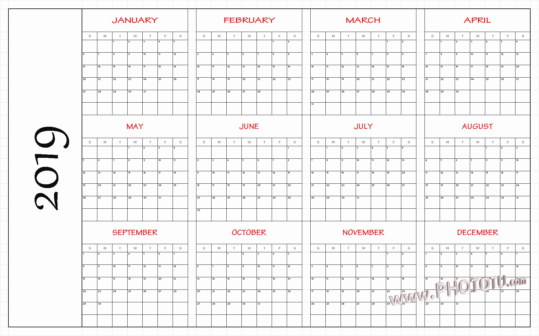 Free Printable Yearly Calendar 2019 2019 Printable 12 Month One Page for Blank 12 Month Calendar Printable
