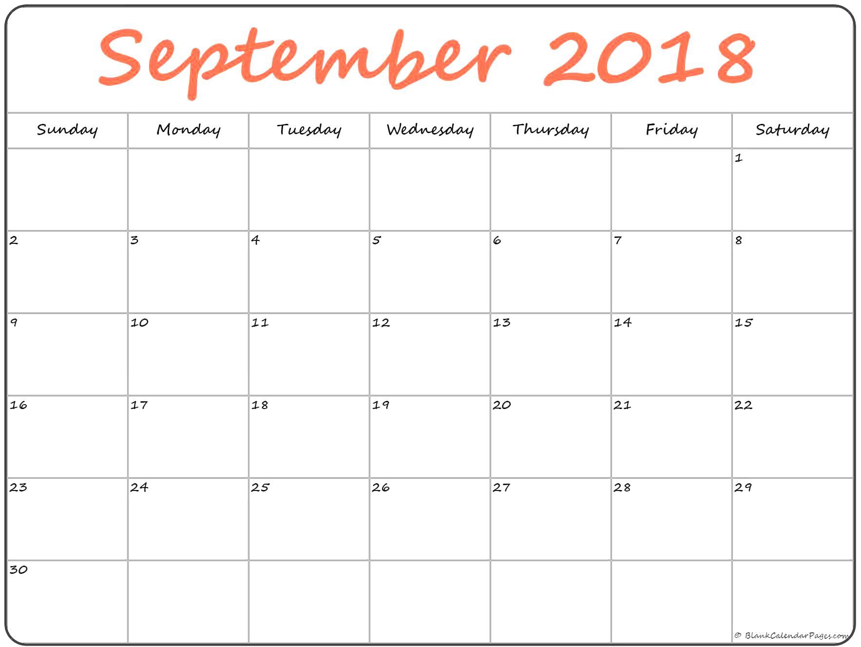 Free September 2018 Calendar Printable Online Download regarding September Printable Monthly Calendars Blank
