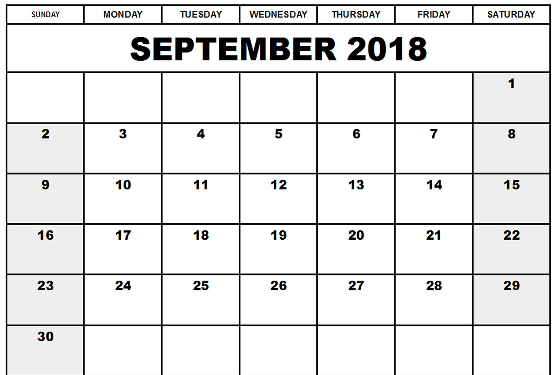 Free September 2018 Calendar Printable Template With Holidays with regard to September Calendar Printable Template Blank
