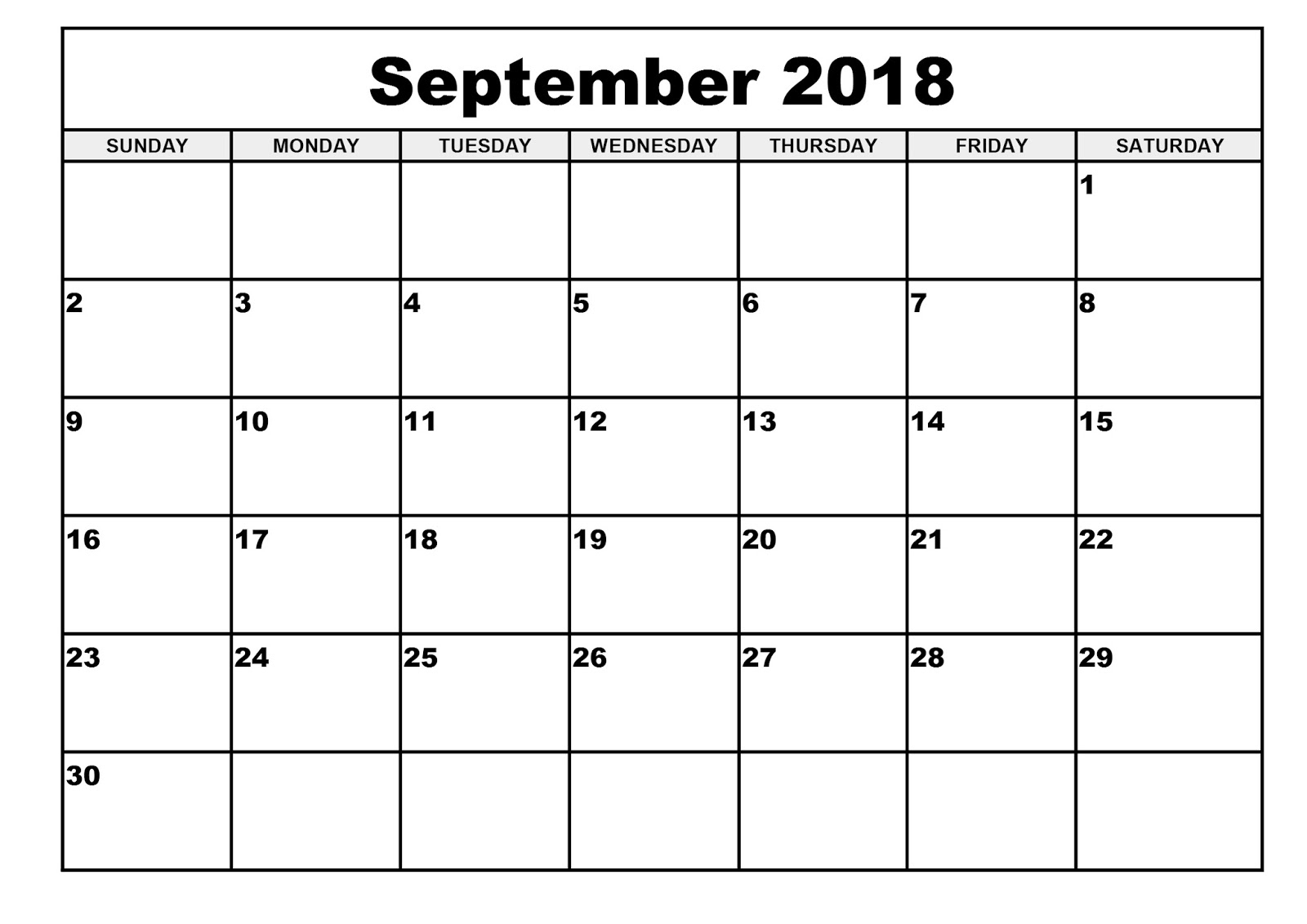 Free September 2018 Printable Calendar Blank Templates - Calendar pertaining to Blank Printable September Calendar Template