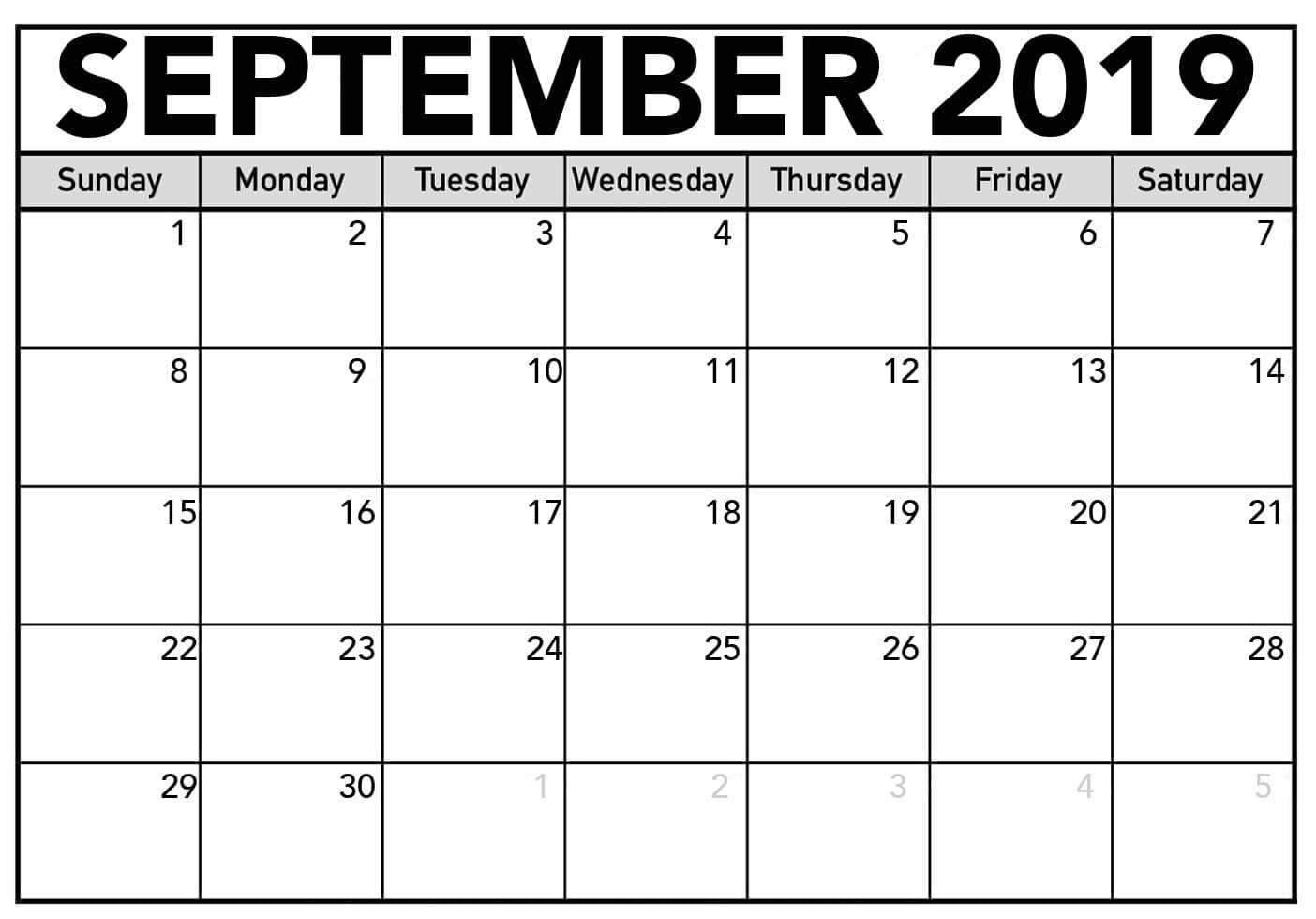 Free September 2019 Calendar Printable Blank Templates Pdf Page pertaining to Blank September Calendar Printable