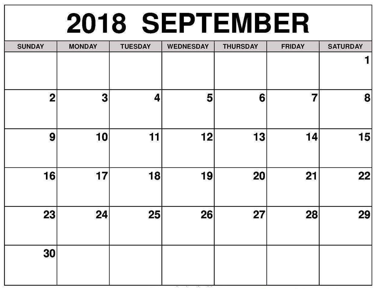 Free September Calendar 2018 Printable Template Pdf pertaining to Free Printable Calendars 2020 Waterproof