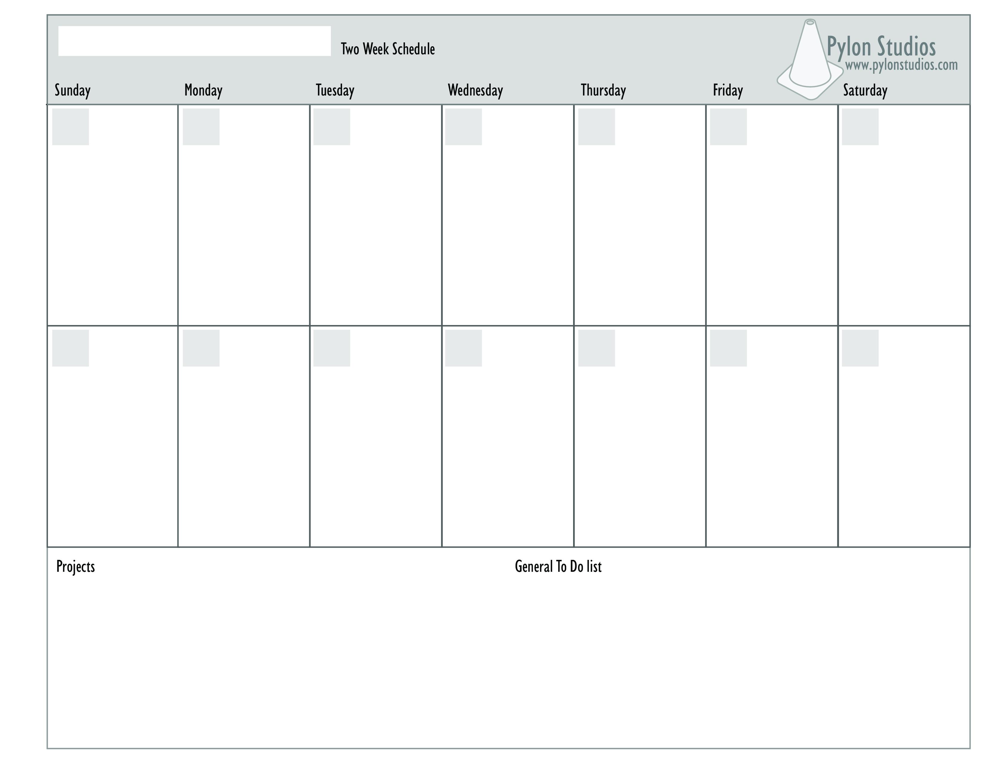 Free Week Calendar Templates At Allbusinesstemplates Com Schedule in Blank Two Week Calendar Template
