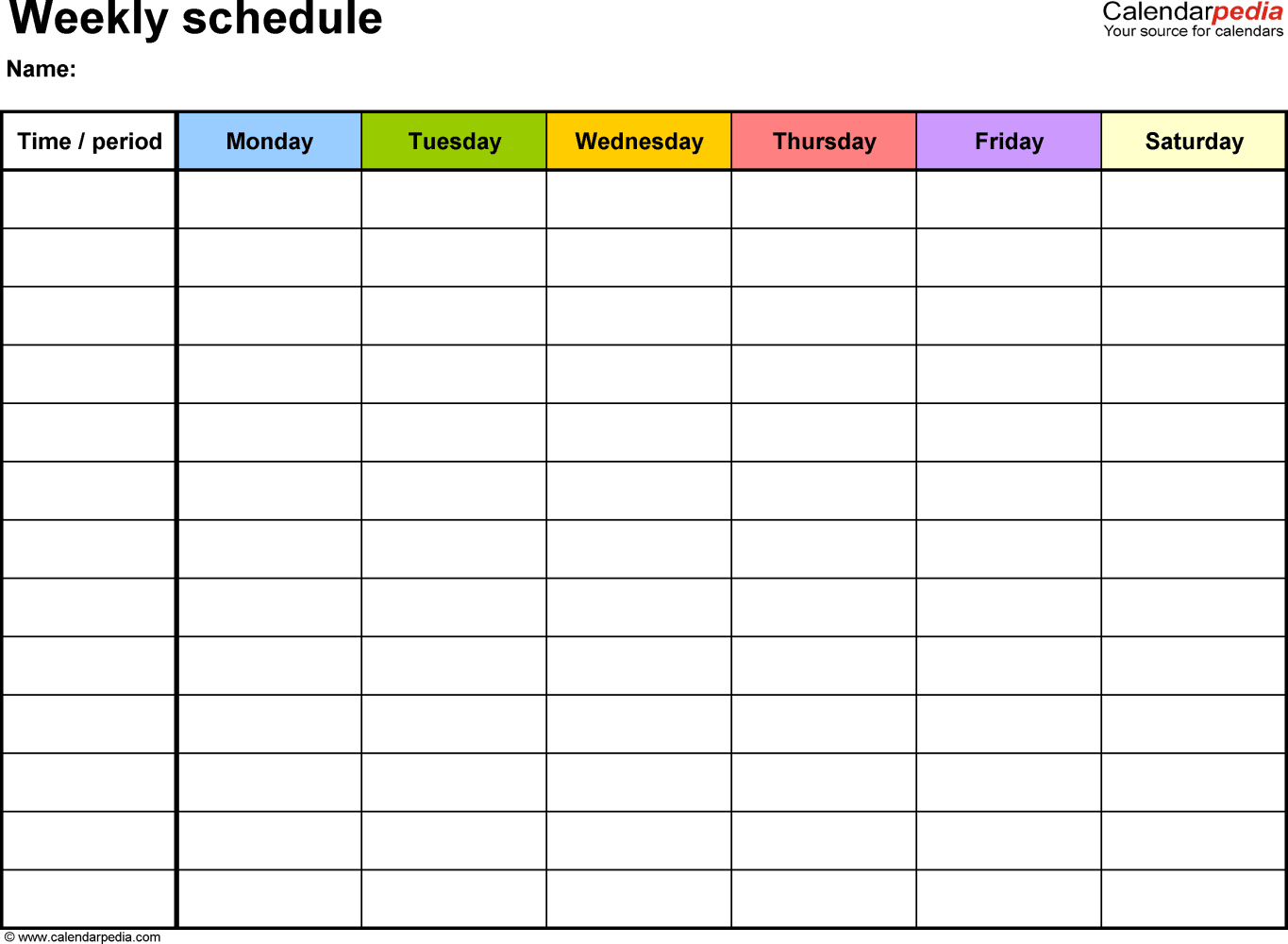 Free Weekly Schedule Templates For Excel - 18 Templates for Excel Calendar Template Weekly
