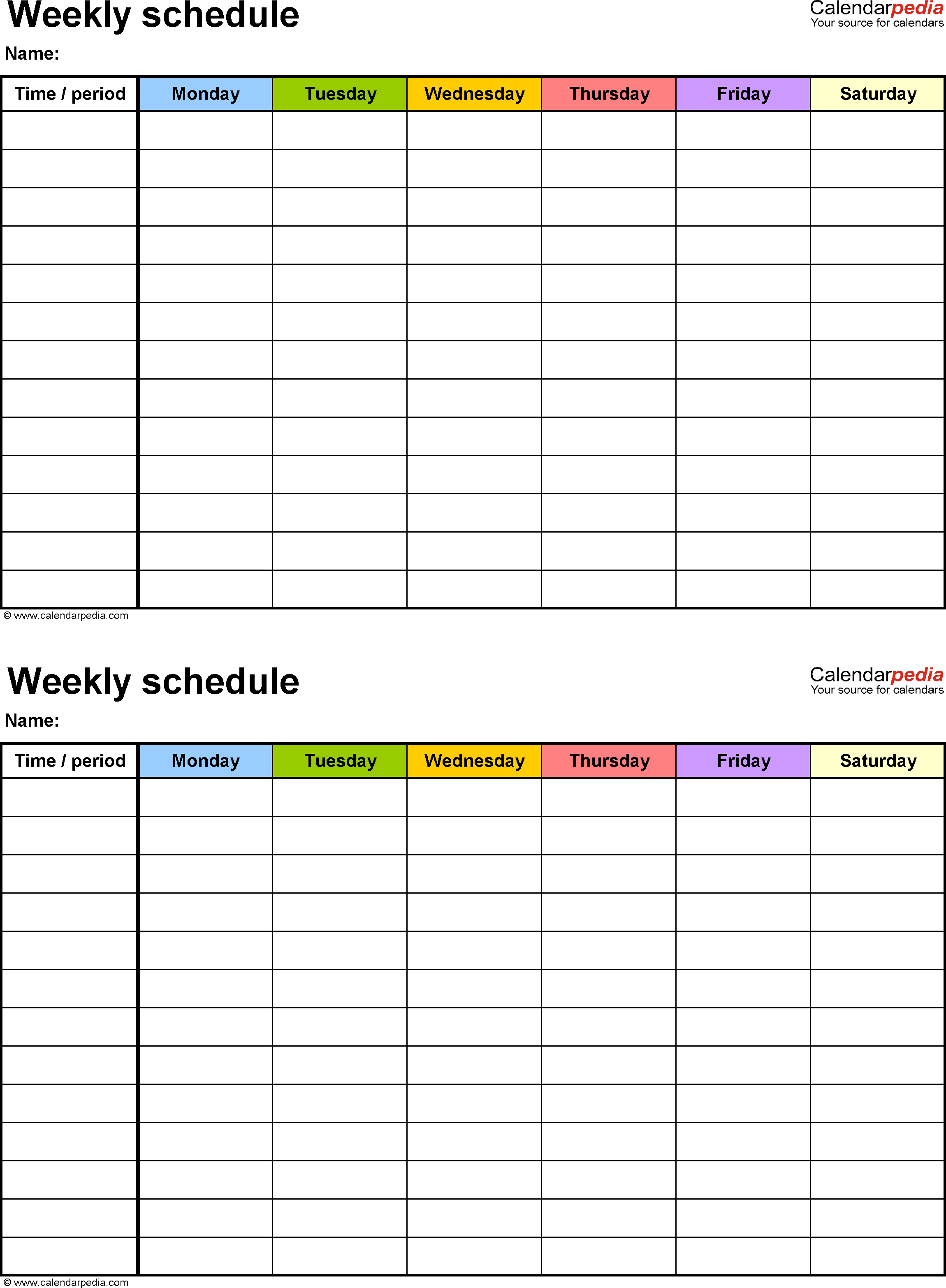 Free Weekly Schedule Templates For Excel - 18 Templates for Large Printable Daily Schedule Template