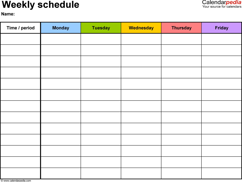Free Weekly Schedule Templates For Excel - 18 Templates in Blank 4 Week Calendar Printable