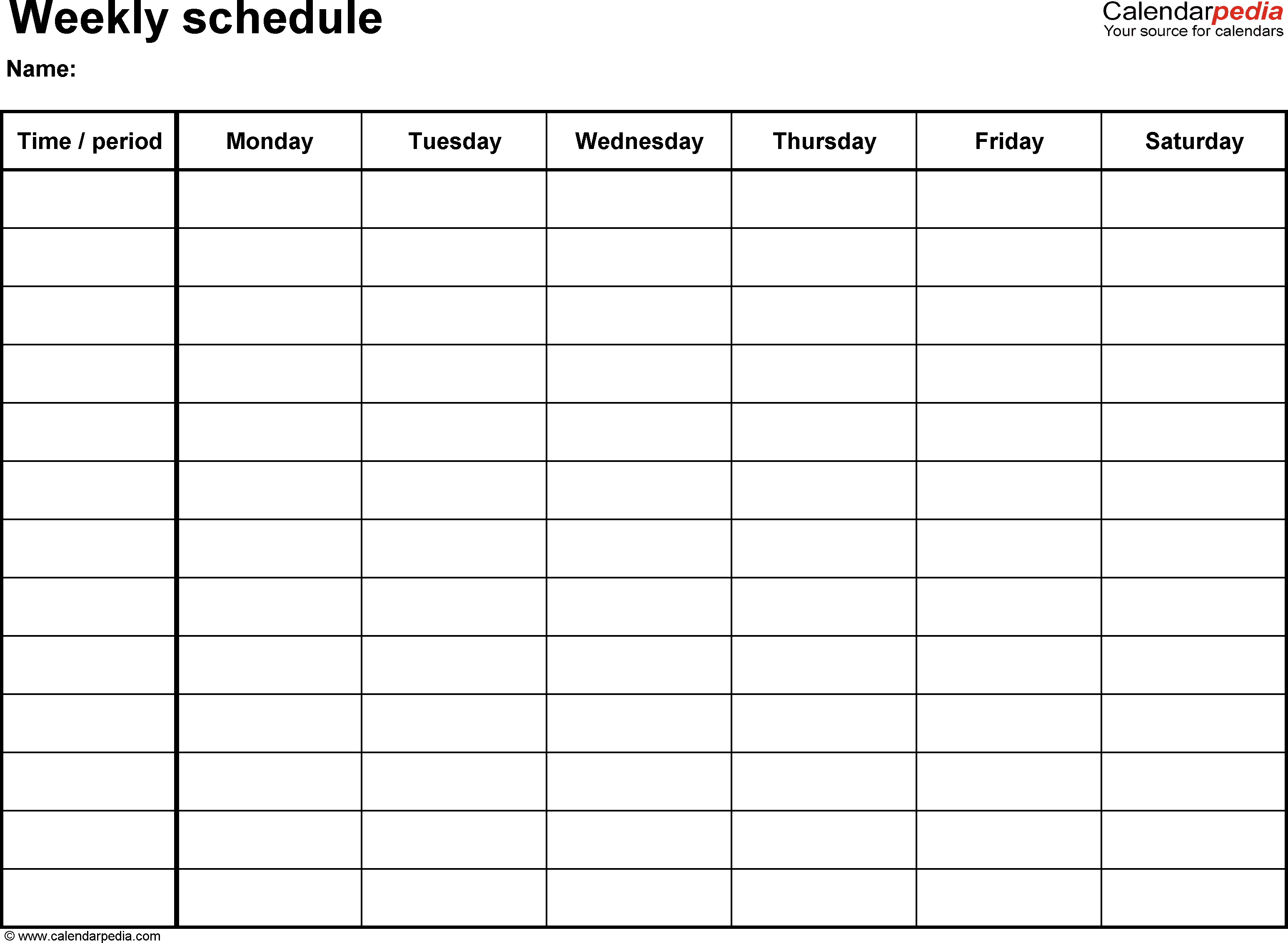 Free Weekly Schedule Templates For Excel - 18 Templates within Cute Blank Calendar Page Template