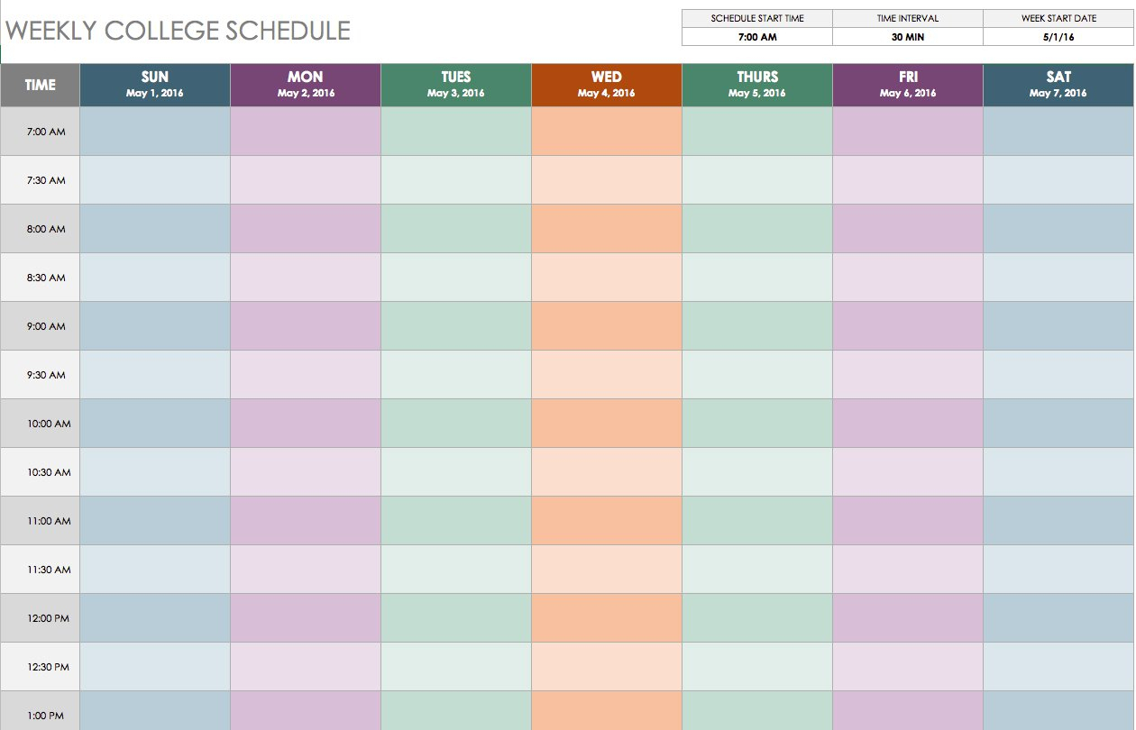 Free Weekly Schedule Templates For Excel - Smartsheet inside 6 Day Work Week Template For Manufacturing