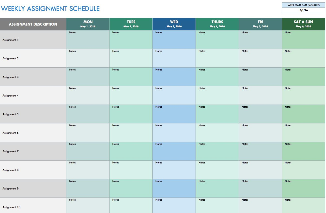 Free Weekly Schedule Templates For Excel - Smartsheet inside Days Of The Week Schedules Free Template