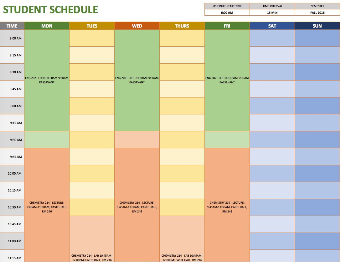 Free Weekly Schedule Templates For Excel - Smartsheet pertaining to Schedule At A Glance Template