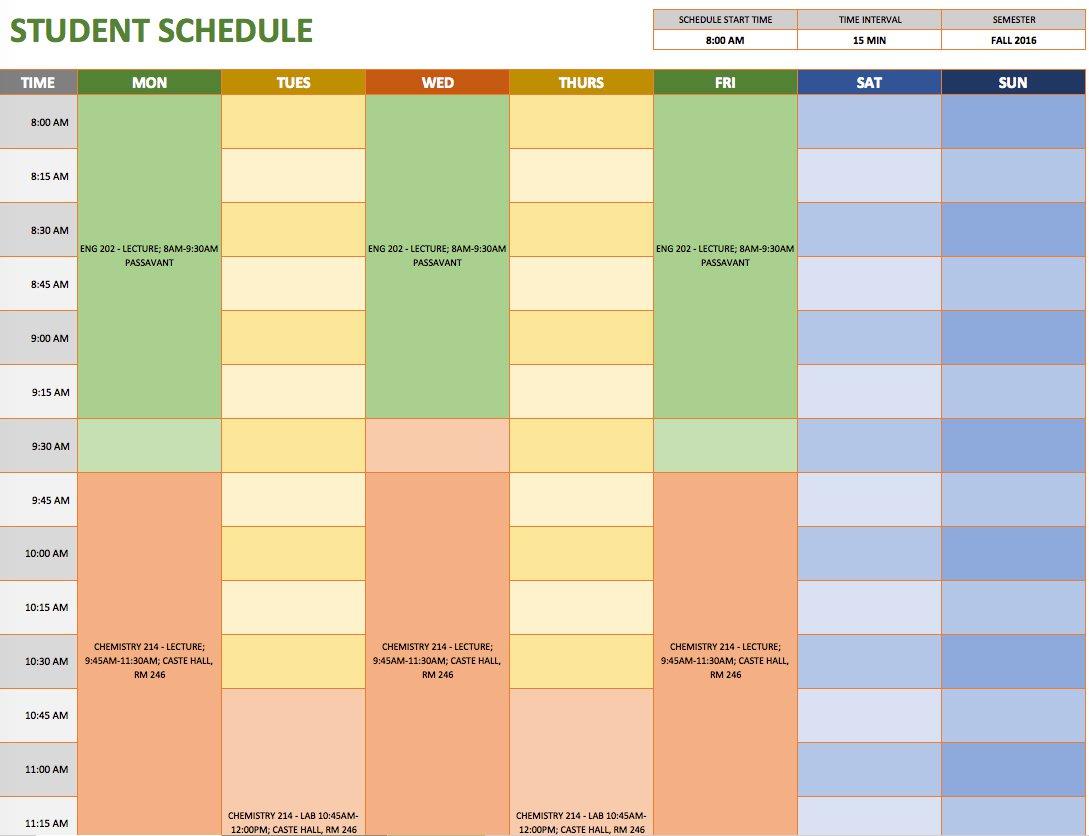 Free Weekly Schedule Templates For Excel - Smartsheet regarding Cute Class Schedule Template 8 Class