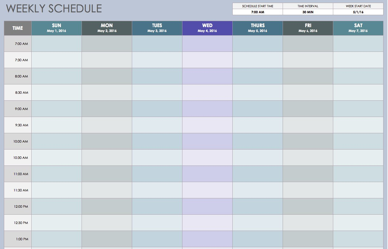 Free Weekly Schedule Templates For Excel - Smartsheet within Excel Weekly Calendar Template
