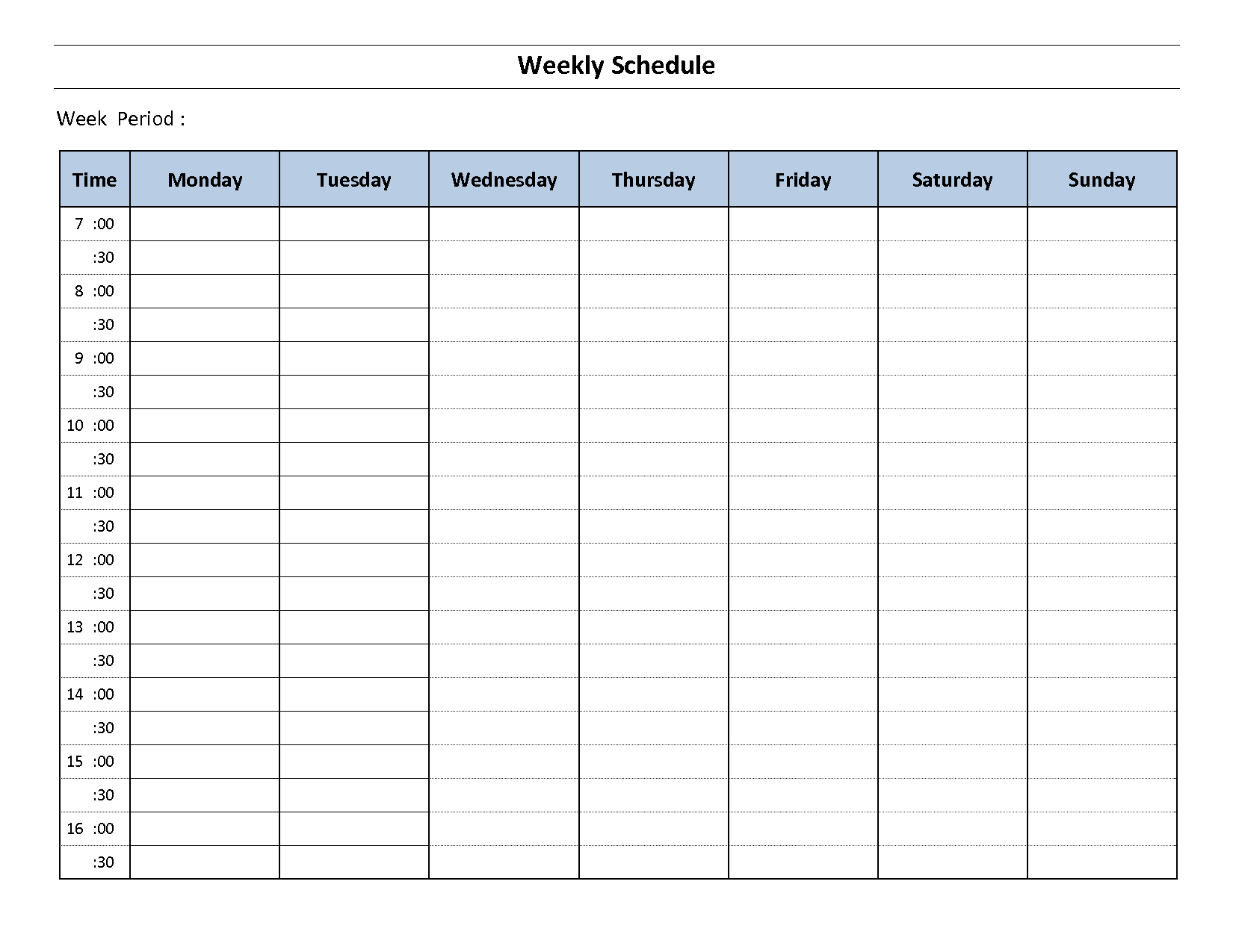 Free Weekly Schedule Templates For Word Monday Through Day Template with 2 Week Schedule Template Mon- Sunday