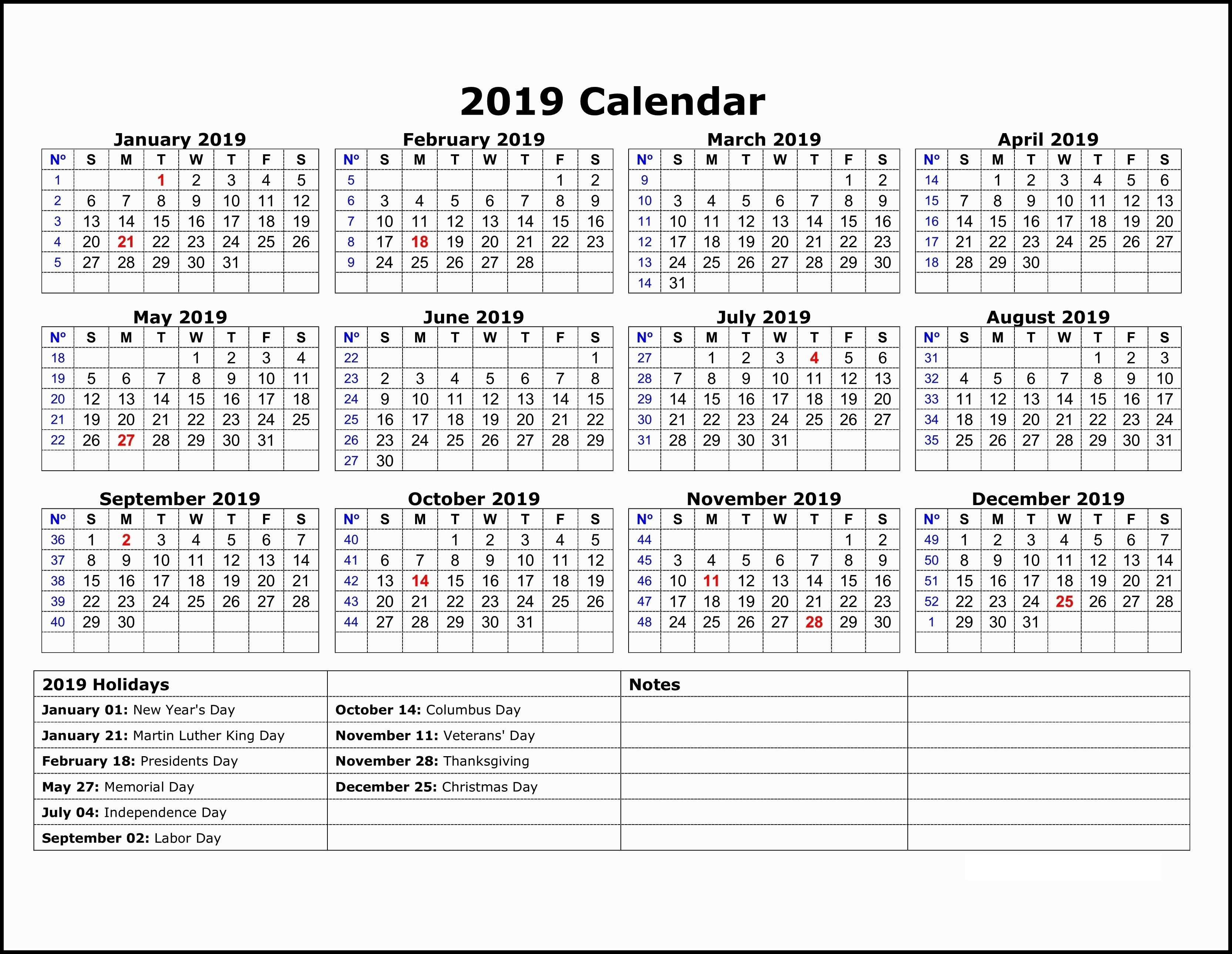Free Yearly 12 Month Calendar One Page Template Printable With Holidays pertaining to National Day Calendar 2020 Printable