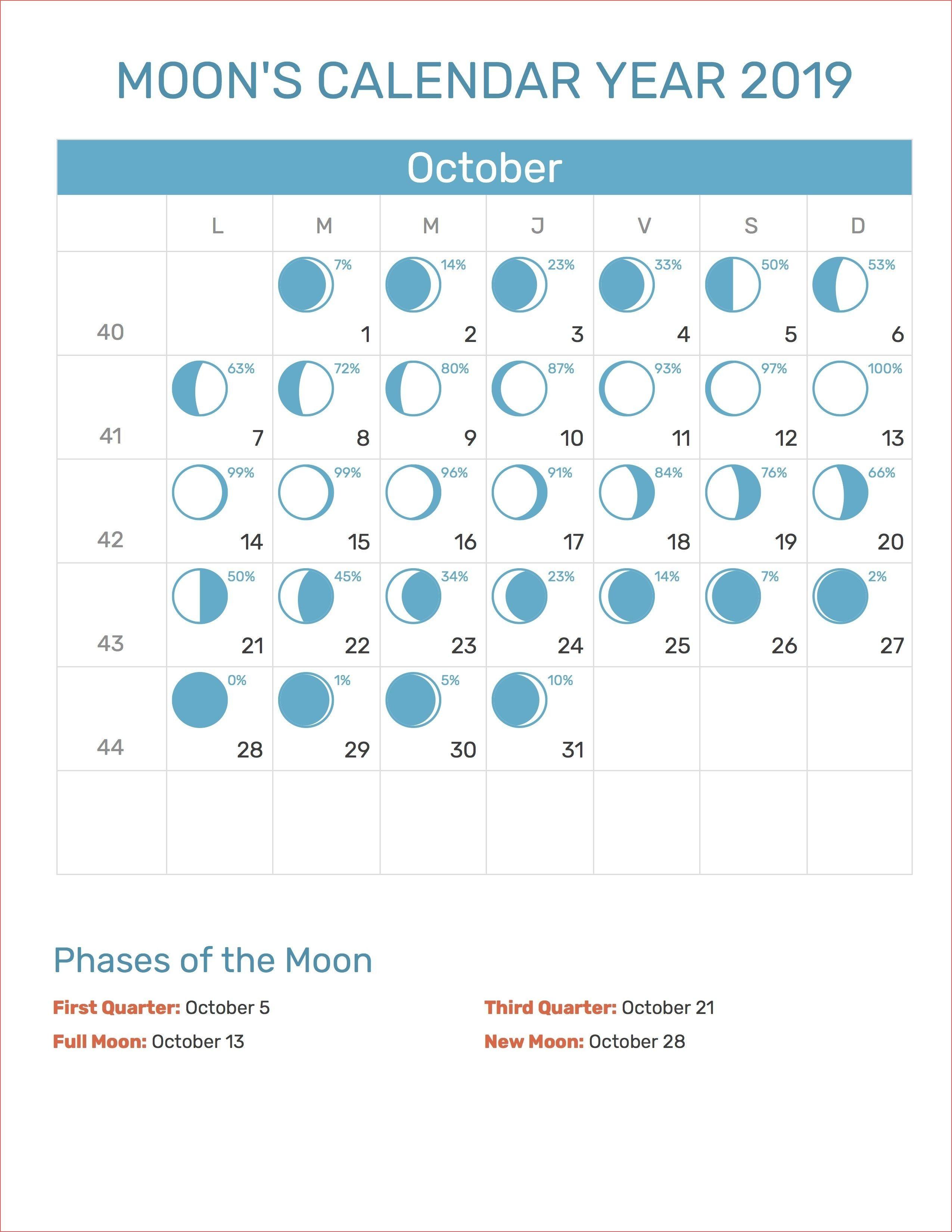 Full Moon Calendar 2019 October   Calendar Format Example for Full Moon Calendar 2019 October
