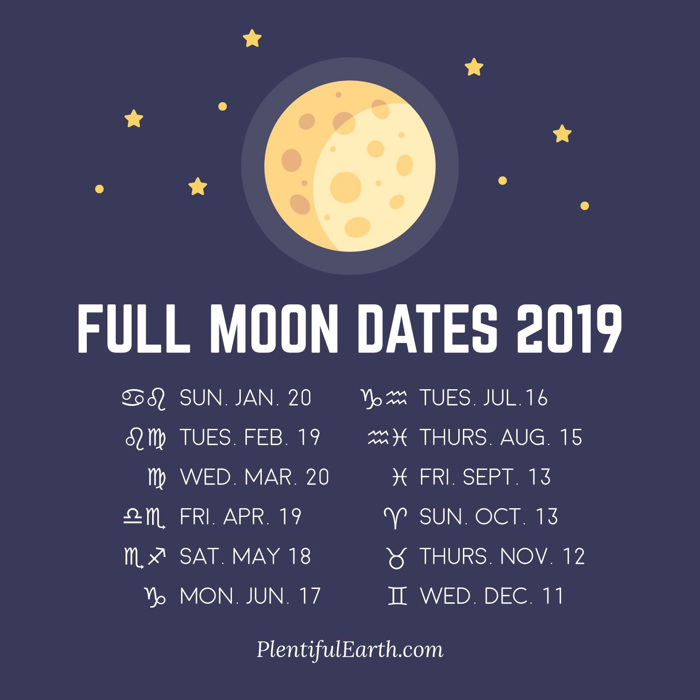Full Moon Dates 2019 » Plentiful Earth pertaining to Full Moon Calendar 2019 October