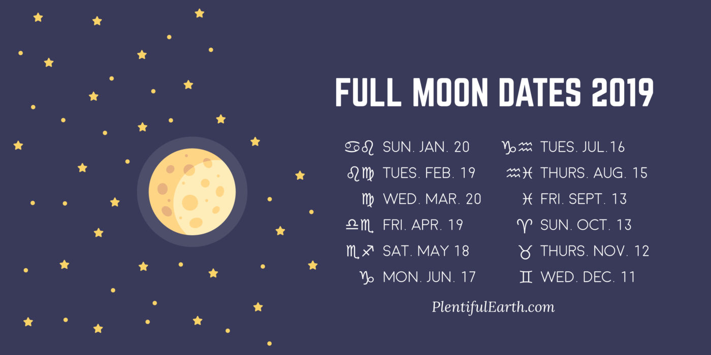 Full Moon Dates 2019 » Plentiful Earth regarding Full Moon Calendar 2019 Printable October