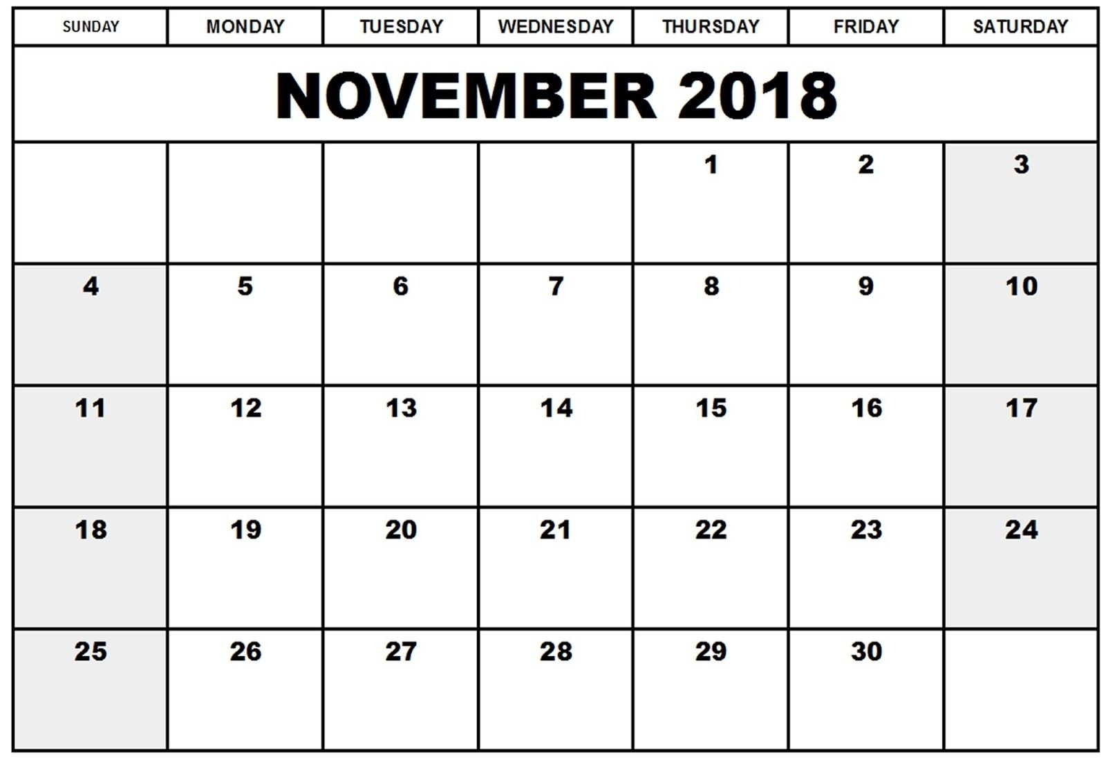 Full Sheet November 2018 Calendar Template | Template Calendar Printable with regard to Full Sheet November Calendar Template