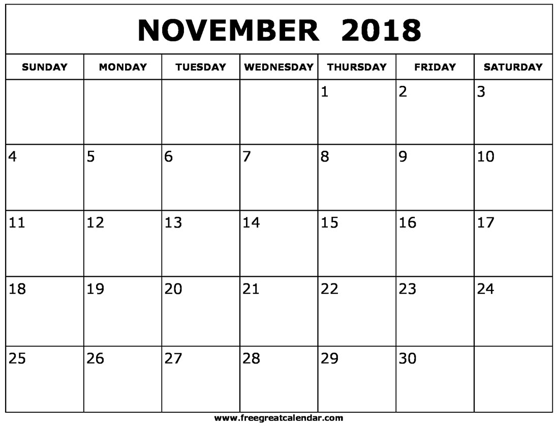 Full Size Calendars November 2018 Printable Free | Template Calendar for November Calendar For Quikcalendertemplate