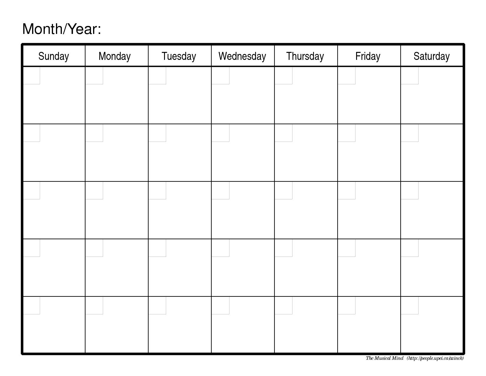 Generic Monthly Calendar Template Word - Infer.ifreezer.co regarding Calendar Printable Monthly Templates