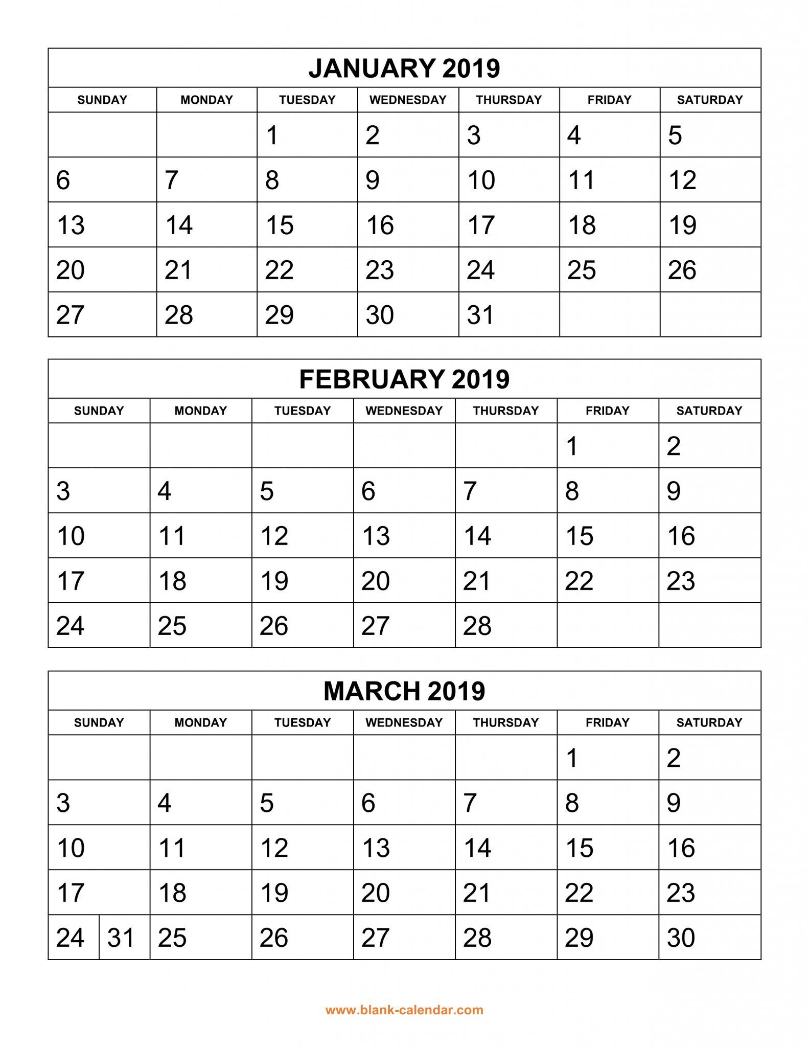 Get Free 2019 3 Month Calendar Templates Printable Download | Top 10 in 3 Month Calendar Templates