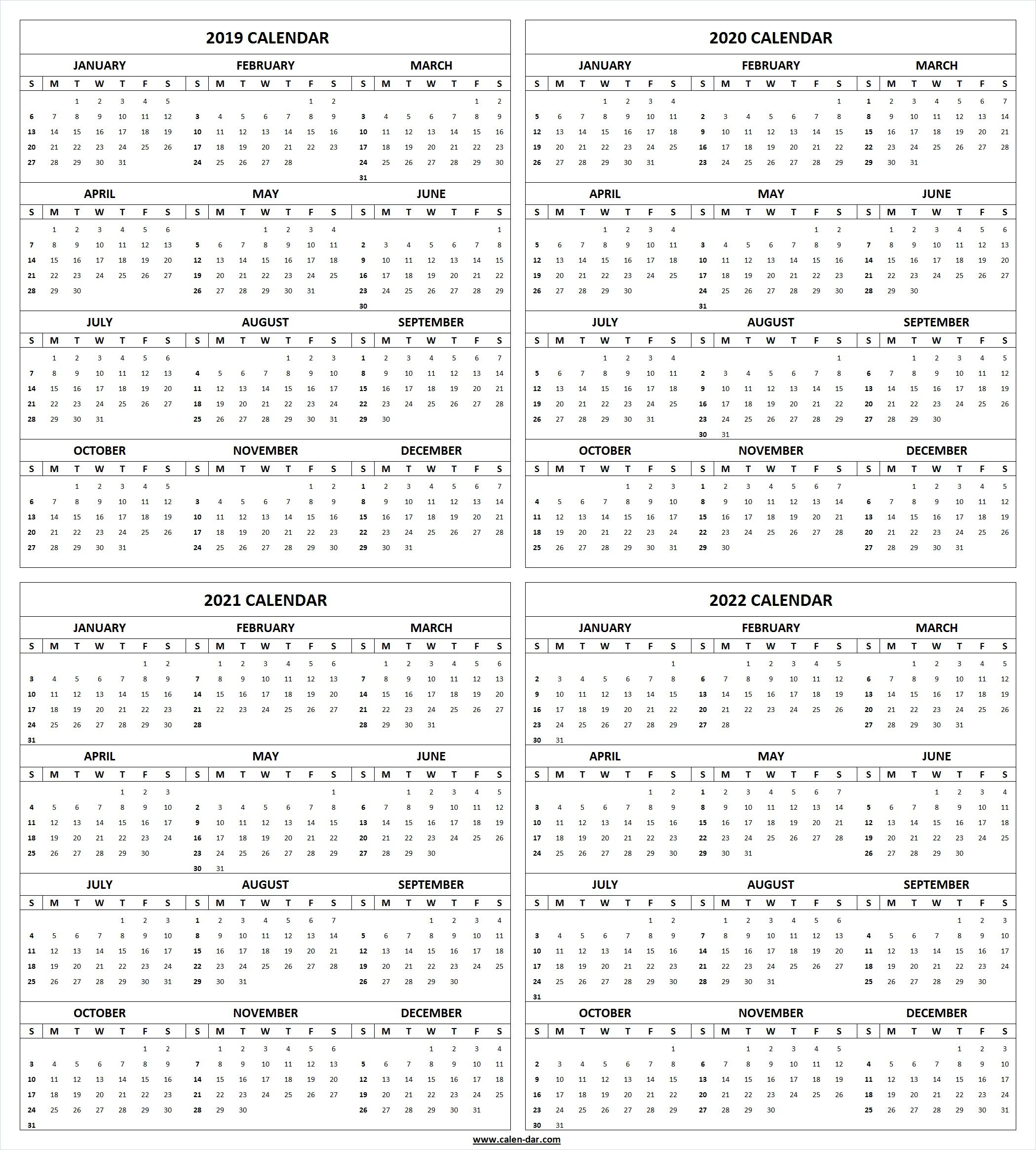 Get Free Blank Printable 2019 2020 2021 2022 Calendar Template pertaining to Printable Calendar 2019-2020 Year At A Glance