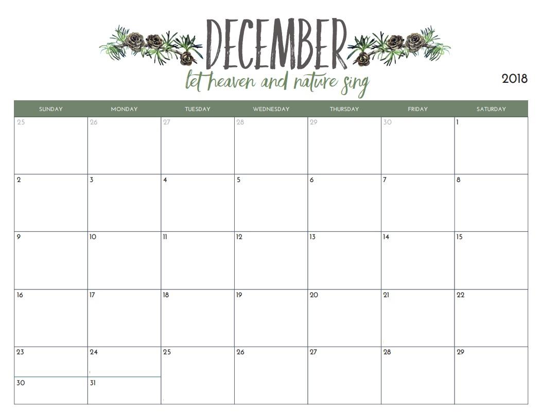 Get Printable Calendar : December 2018 Printable Calendar | Blank in December Monthly Calendar Template