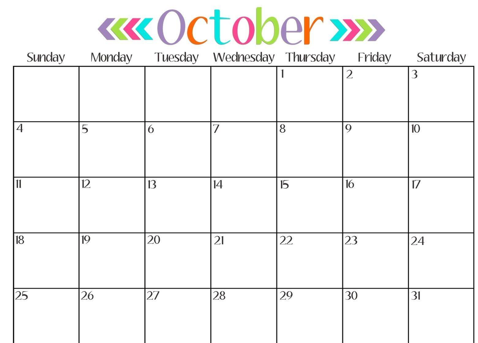 Get Printable Calendar : October 2018 Printable Calendar | Blank inside October Calendar Printable Template