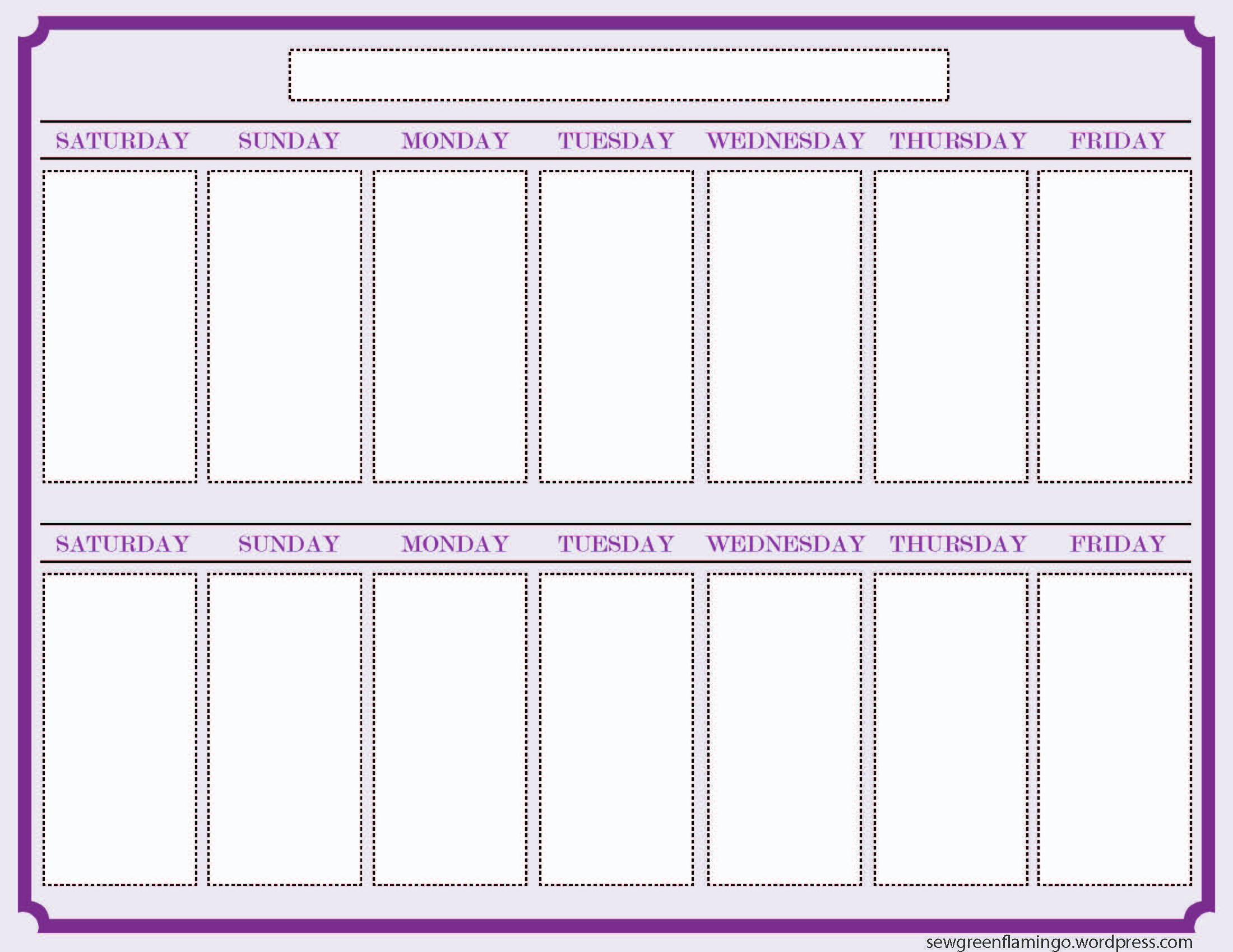 Getting Organized! 2-Week Planner | What I've Been Making - 2013 with 1 Week Blank Calendar Template