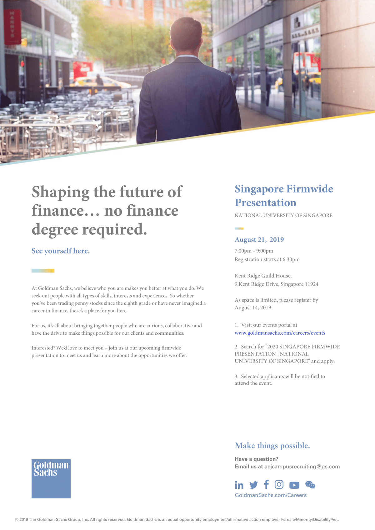 Goldman Sachs Singapore Firmwide Presentation 2019 | Nus Centre For within Nus School Term 2019 2020