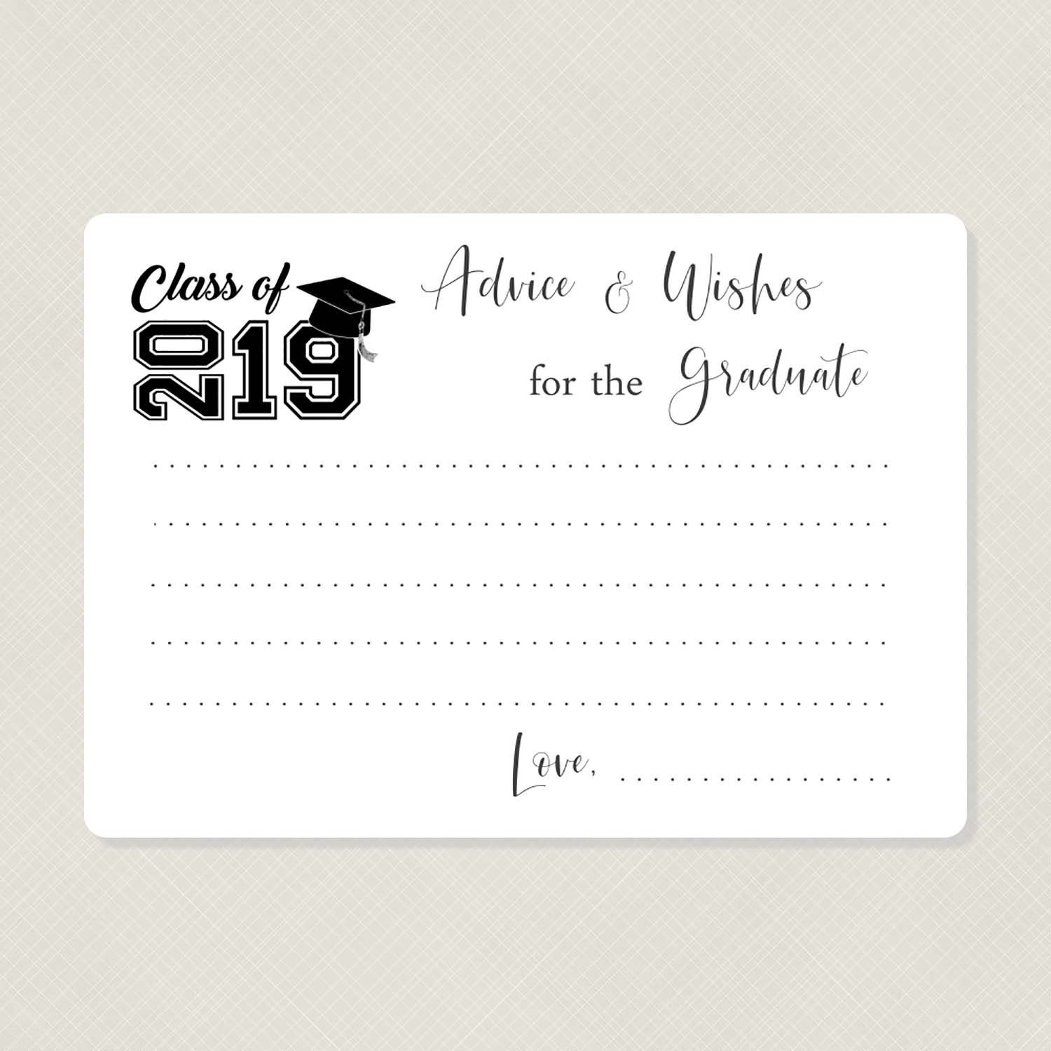 Graduation Advice Cards - Wishes For The Graduate - Class Of 2019, G19 throughout Blank Graduation Advice Sheets