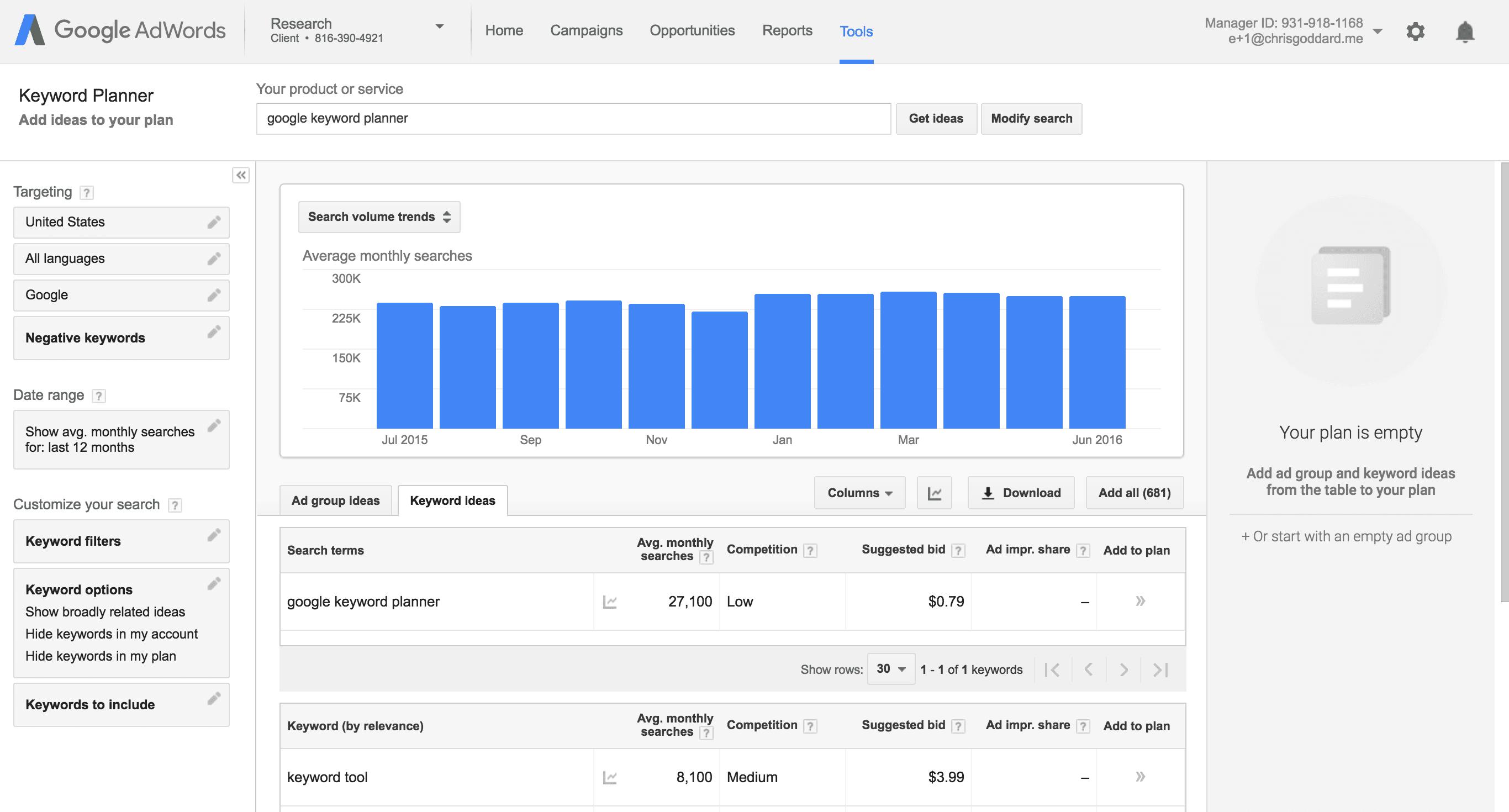 Guide To Google Keyword Planner For Seo   Serps throughout KeywordAverage MonthlysearchesArticleKeyword Tags