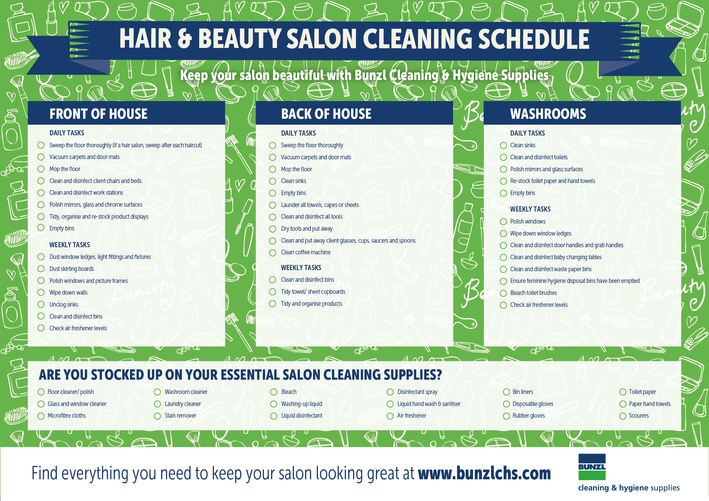 Hair And Beauty Salons Cleaning Schedule And Supply Template regarding Hair Appointment Schedule Template