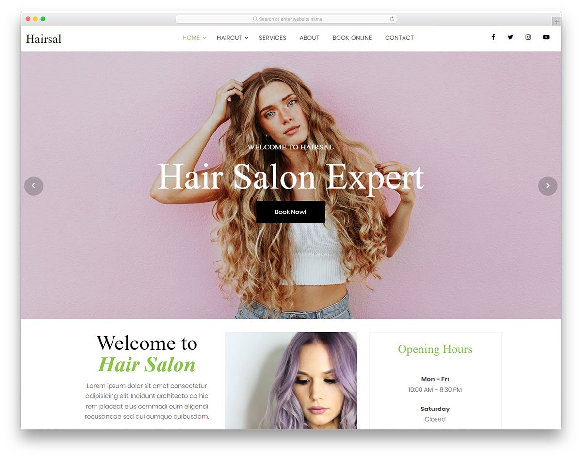 Hairsal - Free Hair Salon Website Template 2019 - Colorlib for Hair Appointment Schedule Template