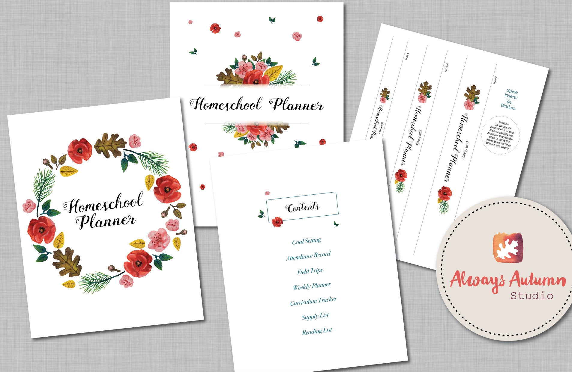 Handpainted Floral Four Seasons Homeschool Printable Planner - Undated -  Includes Year Round Attendance Record & Editable Weekly Planner intended for Homeschool Year At A Glance 2019-2020 Botanical Calendar Printable Free