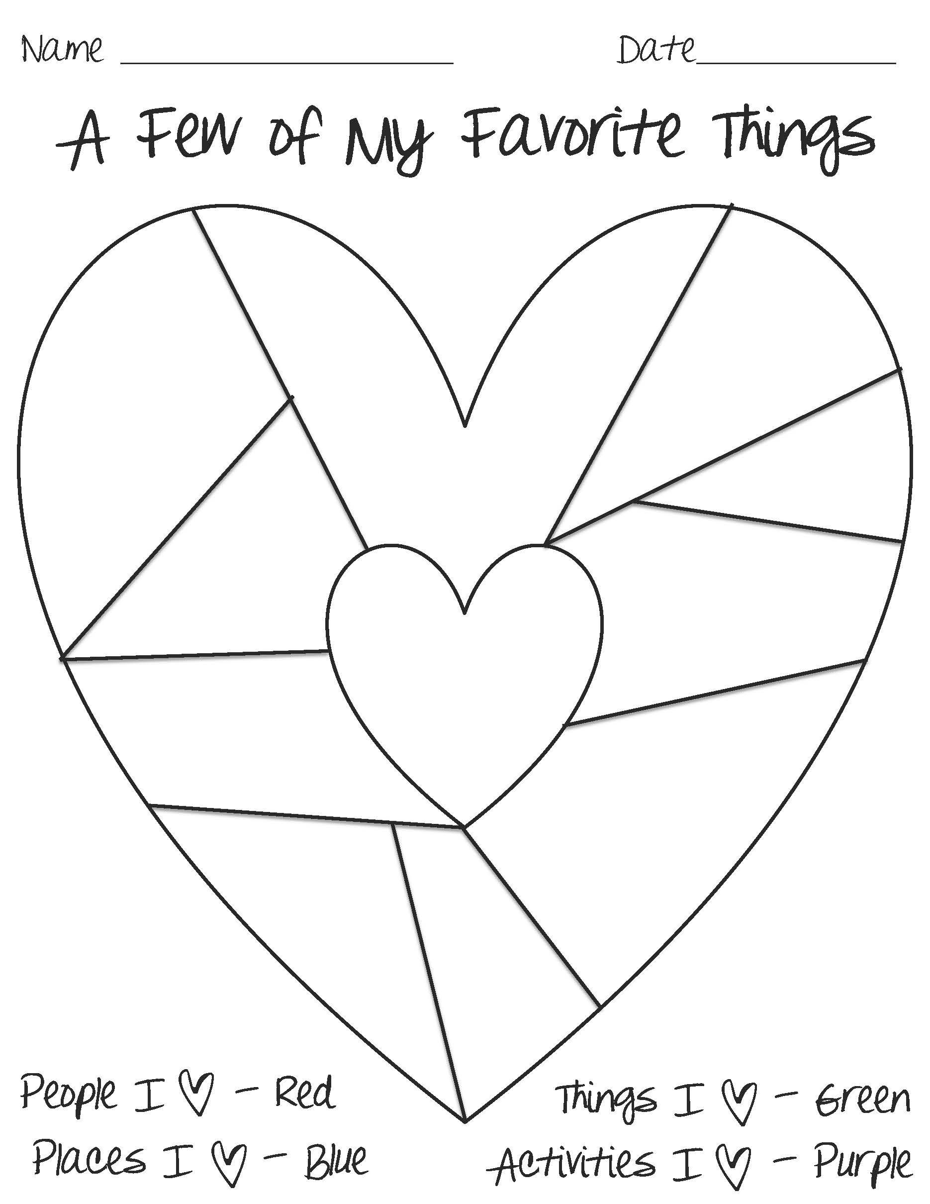 Heart Map Template | Good Resources And Ideas For Teachers throughout A Few Of My Favorite Things Template