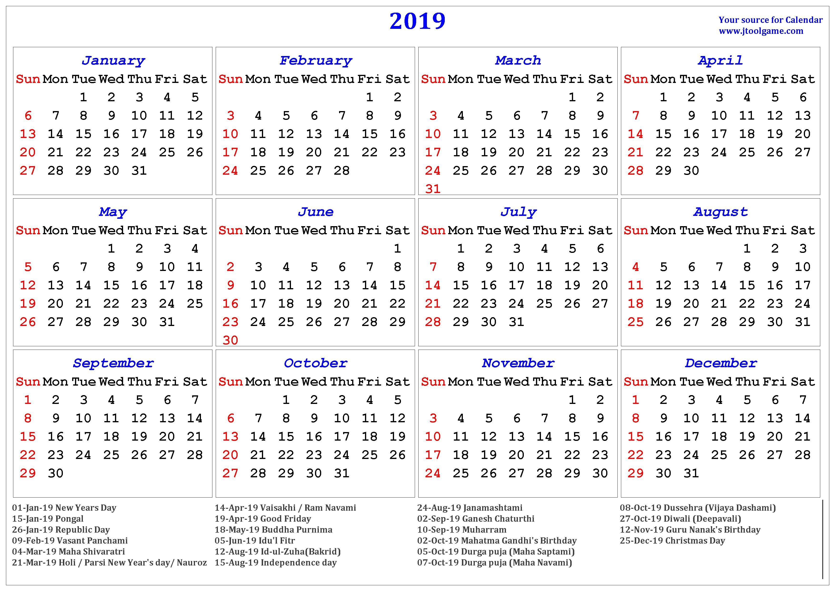 Holidays Calendar 2019 #2019Calendar #2019Holidays #usa #uk #canada intended for National Day Calendar 2020 Printable