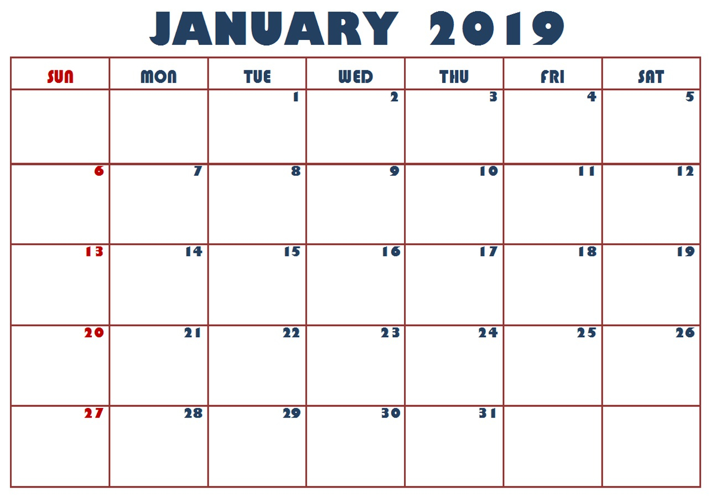 Holidays Calendar January 2019 - Free Printable Calendar, Templates with January Calendar Printable Template With Holidays